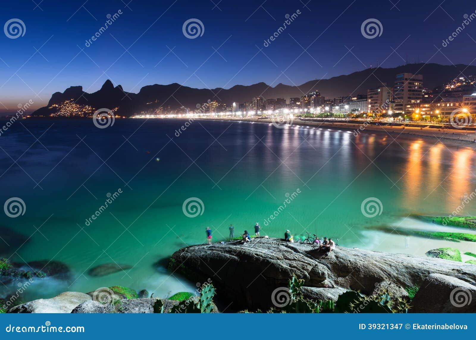 Night view of Ipanema in Rio de Janeiro