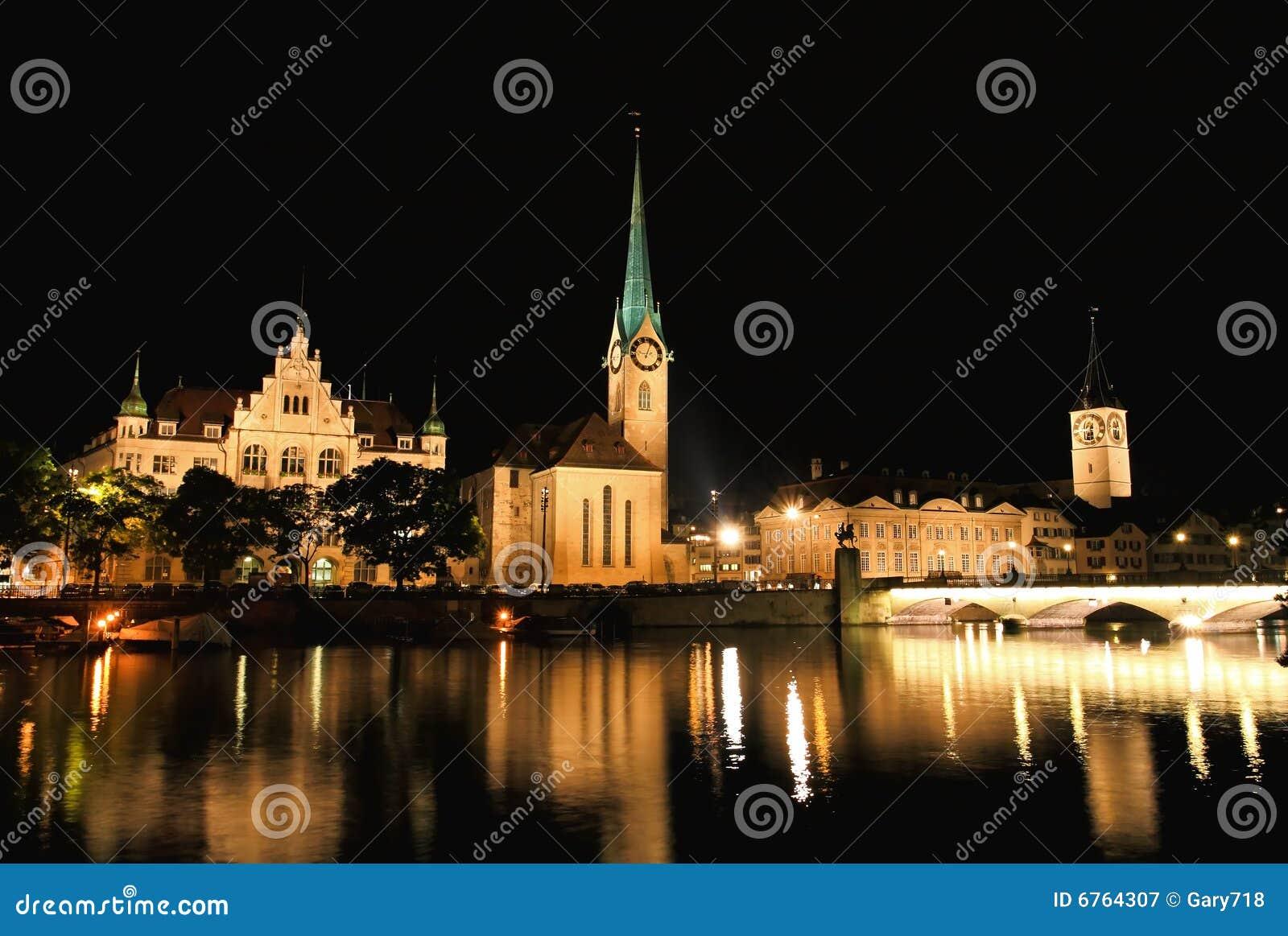 The night view of major landmarks in Zurich