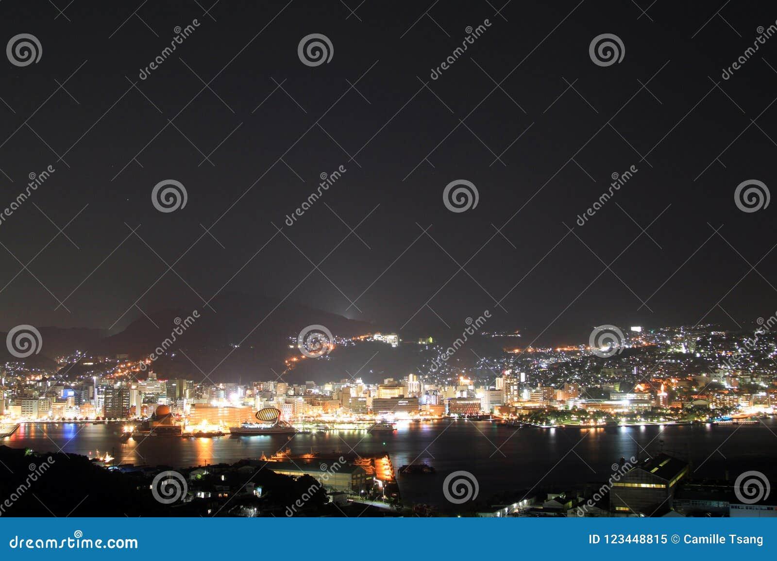 Night View Of Nagasaki, Japan Stock Image - Image of downtown, gold