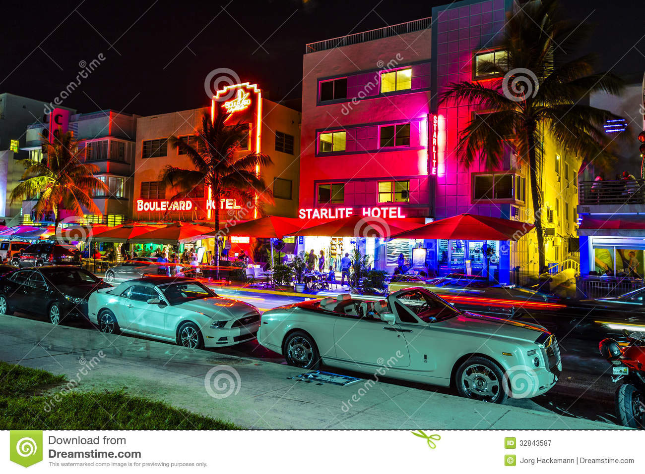 Night View At Ocean Drive In South Miami Editorial Image