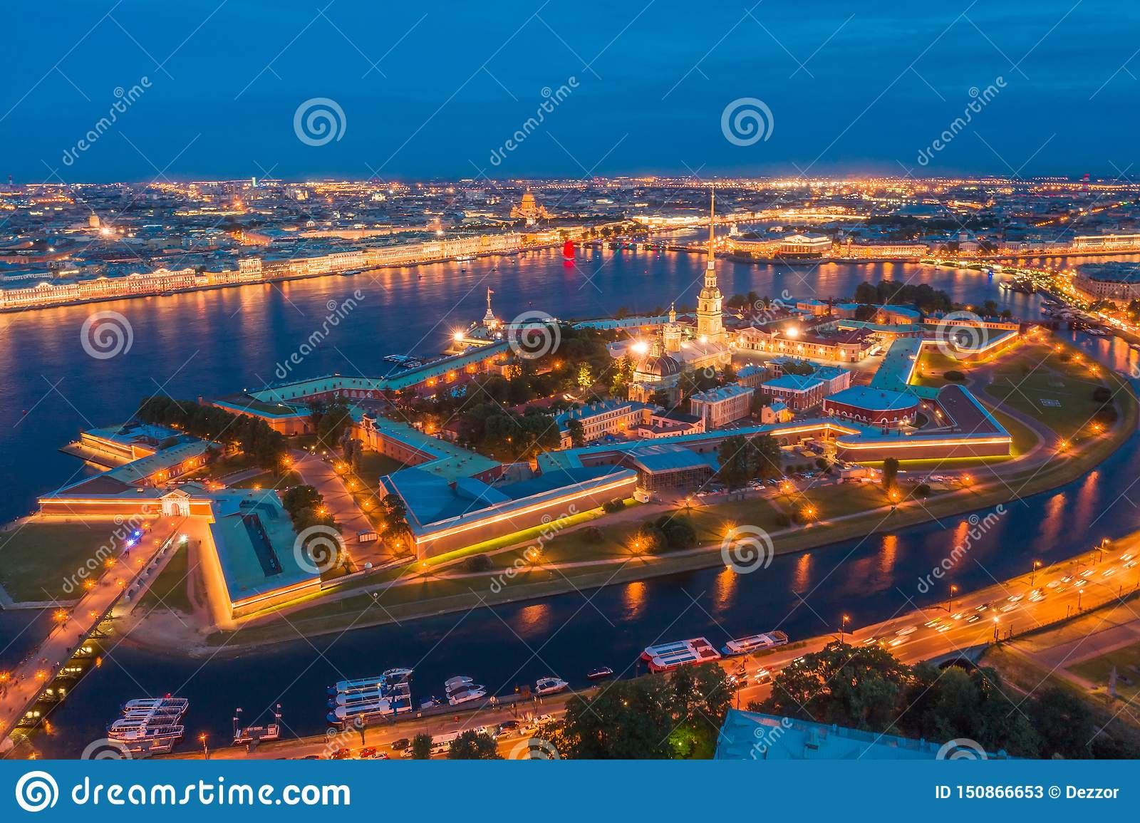 Night view of the Peter and Paul Fortress Hare Island and the city of St. Petersburg