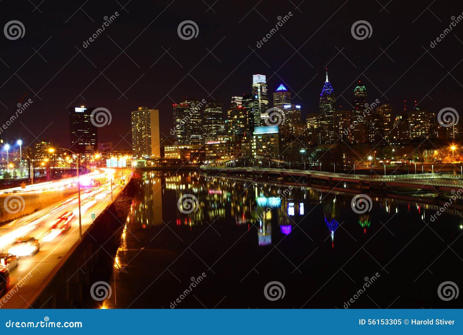 Night view of the Philadelphia City center