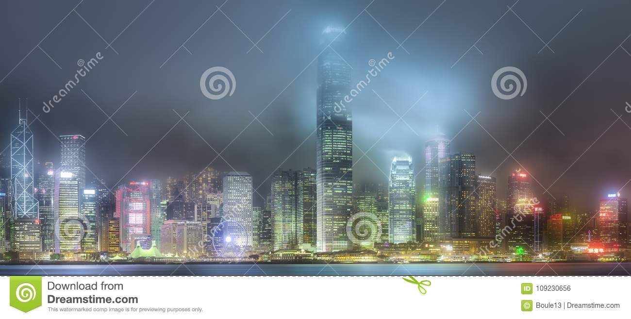 Skyline of Hong Kong in mist from Kowloon, China