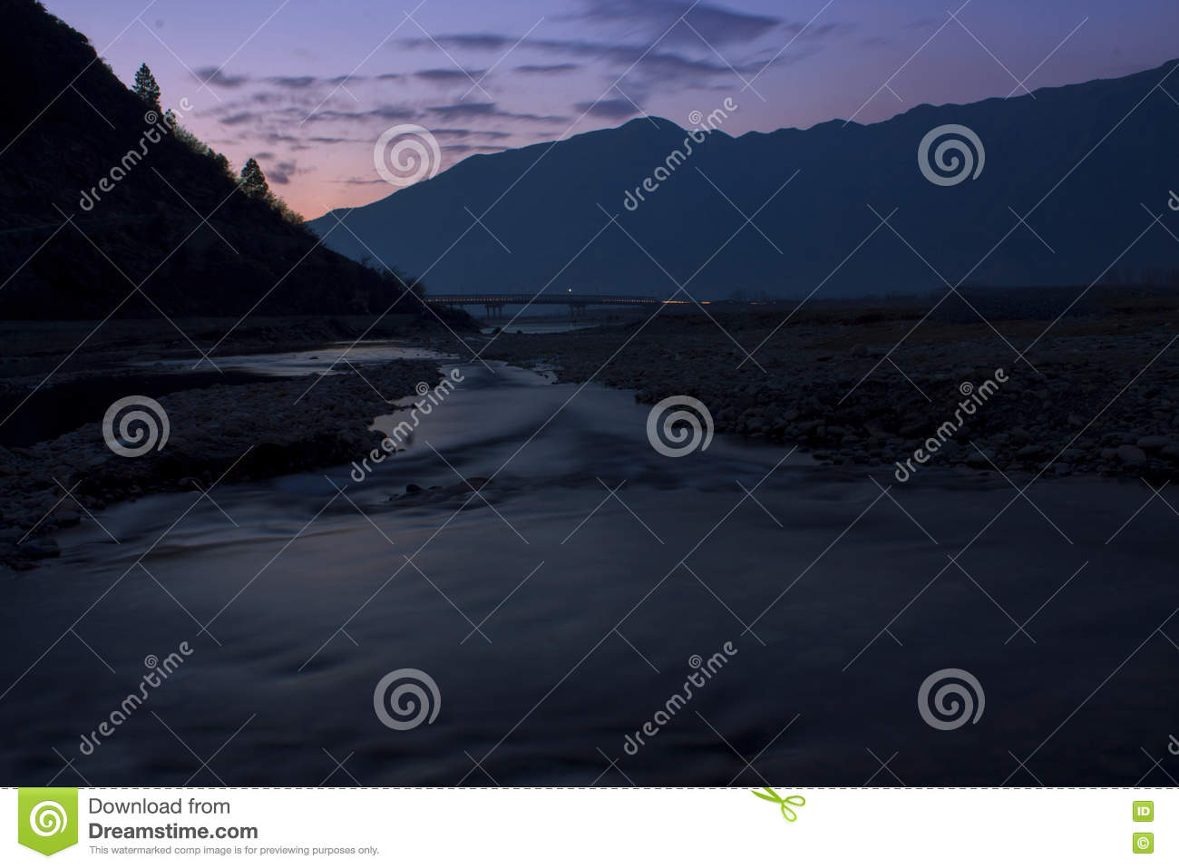 A night view of Swat River