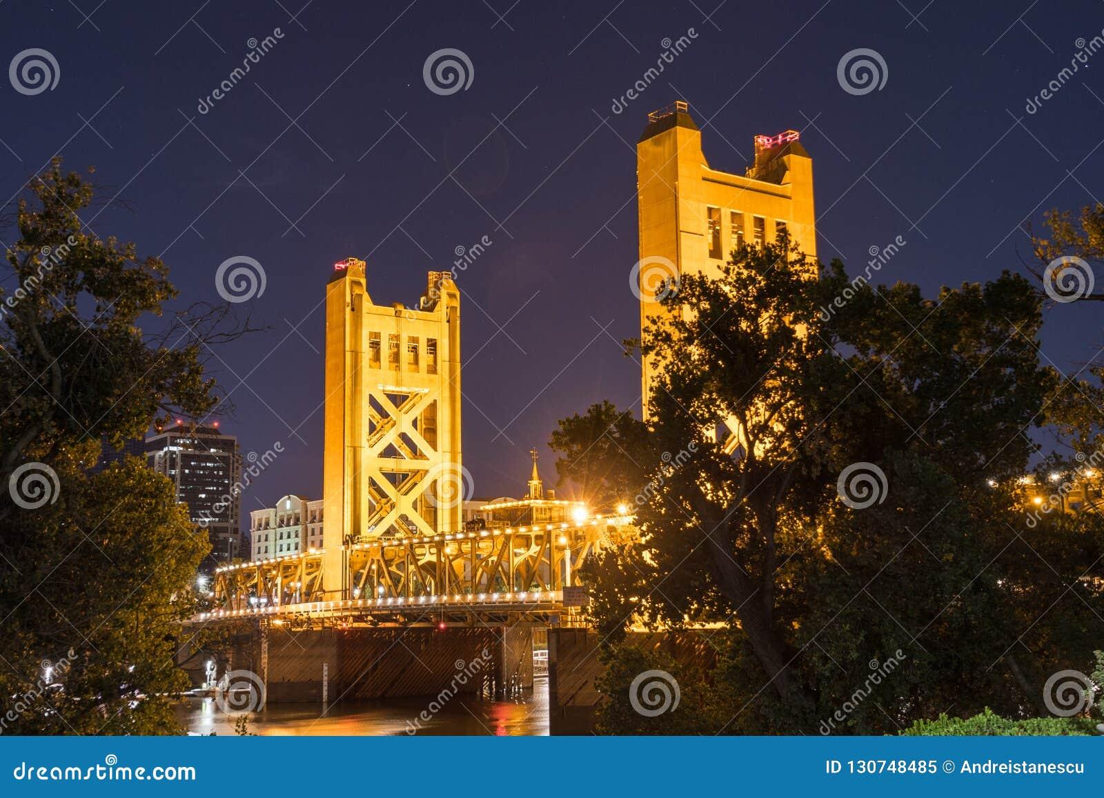 Night view of the Tower Bridge, Sacramento