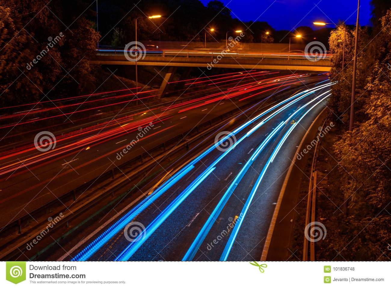Night View of UK Motorway Highway Traffic