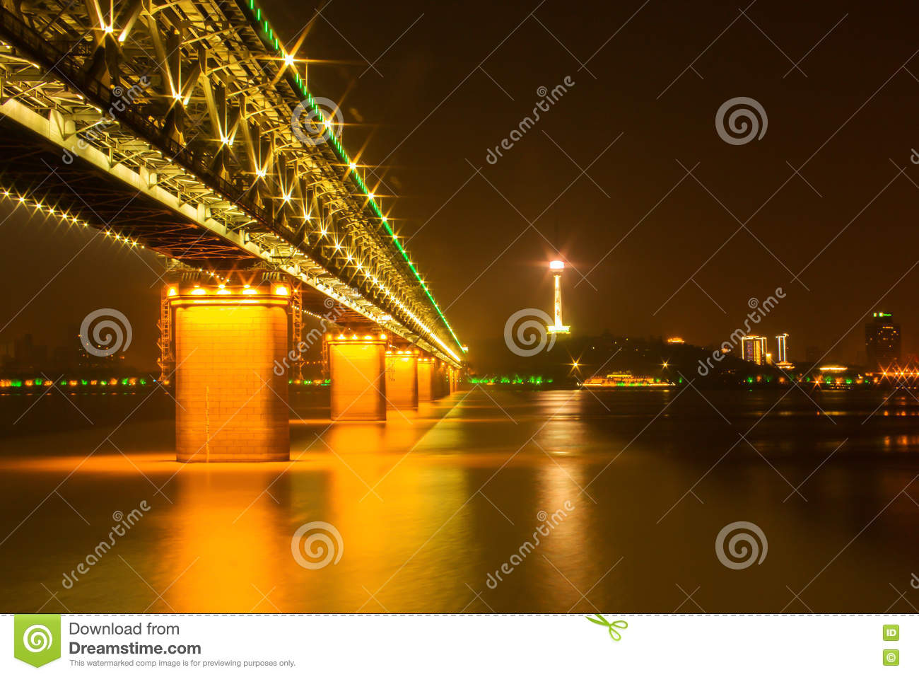 Night view of Yangtsze (Changjiang) Bridge Wuhan China