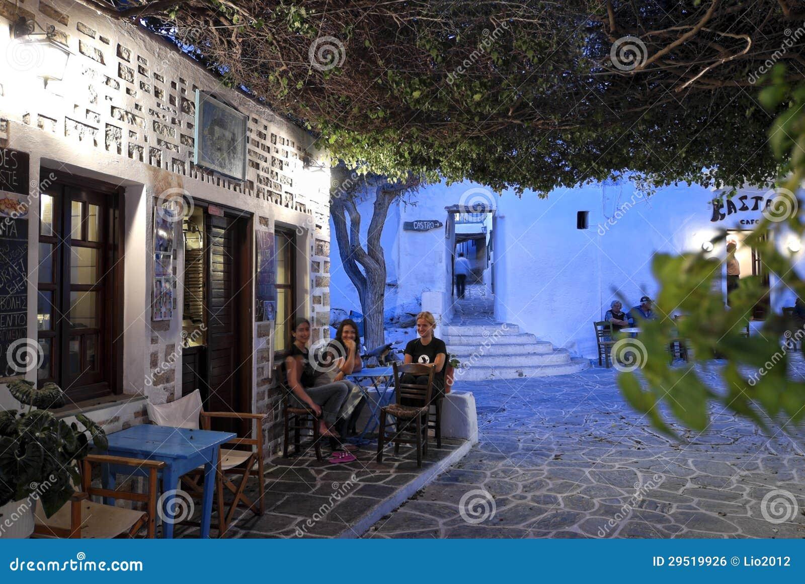 Nightlife In Folegandros, Greece Editorial Photo - Image ...