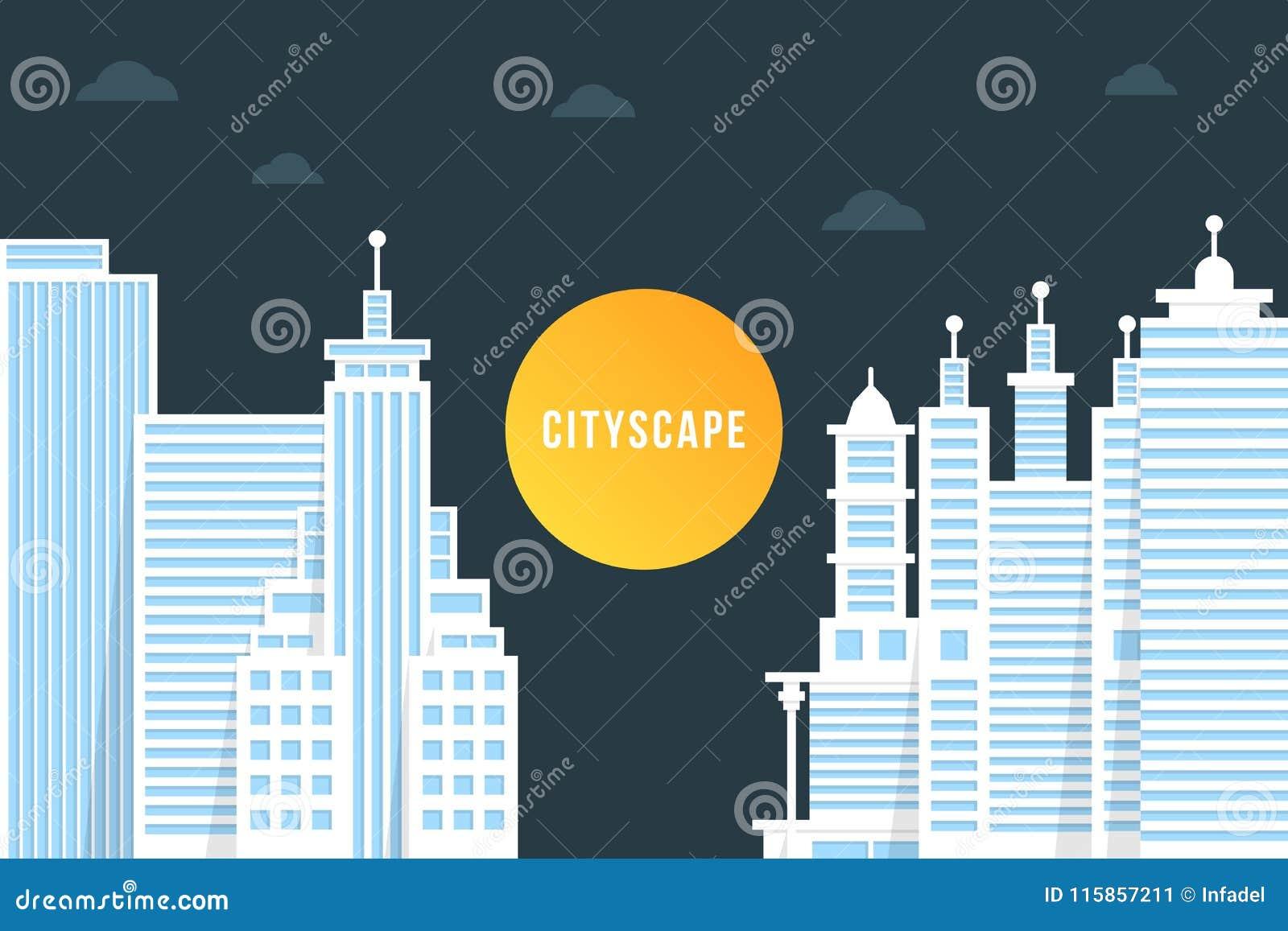 Nightly cityscape med vita byggnader