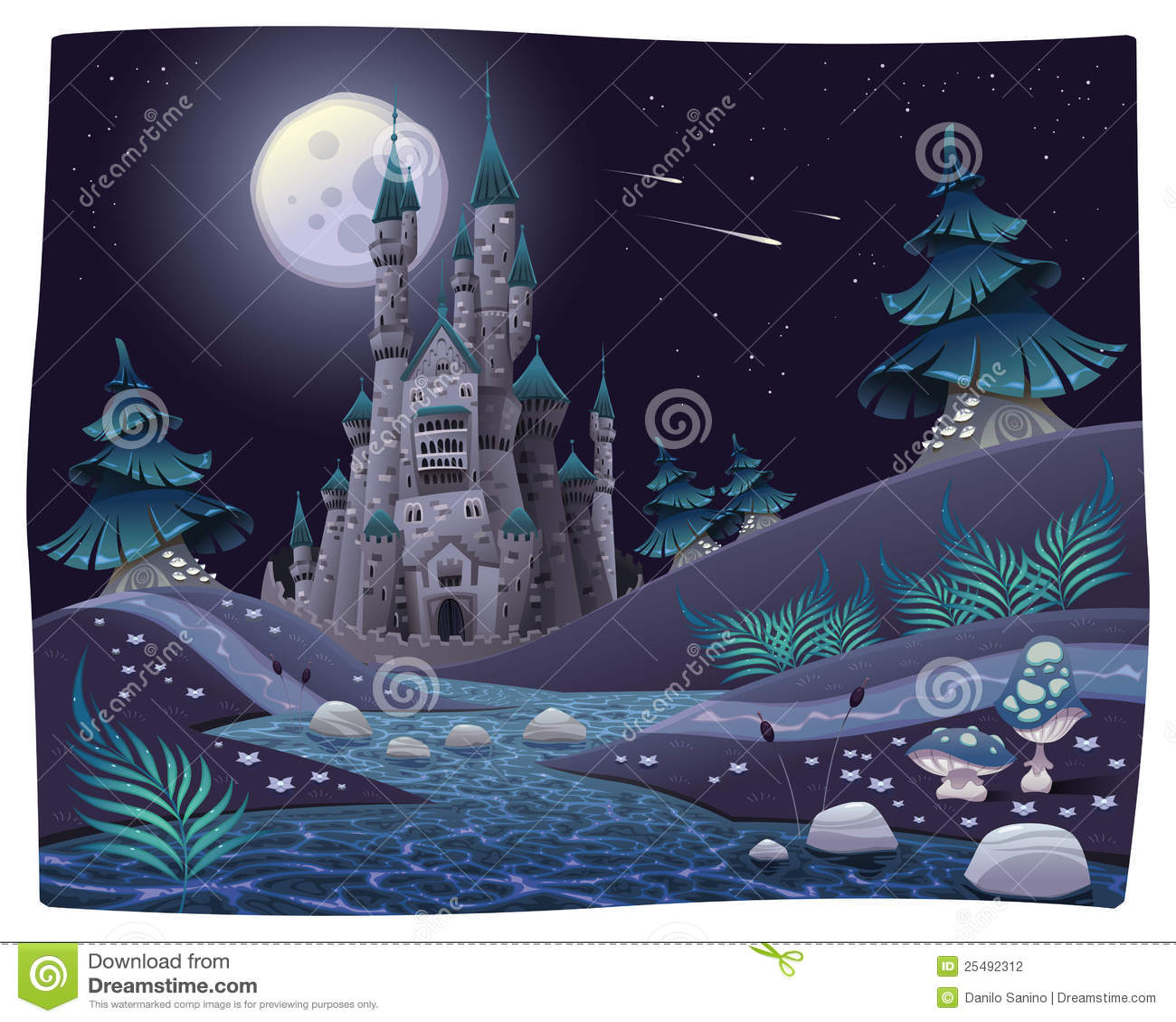 Nightly panorama met kasteel.