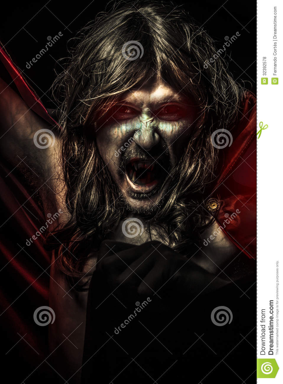 Nightmare, Young Vampire With Black Coat And Long Hair, Nude Stock Photo - Image Of -4339