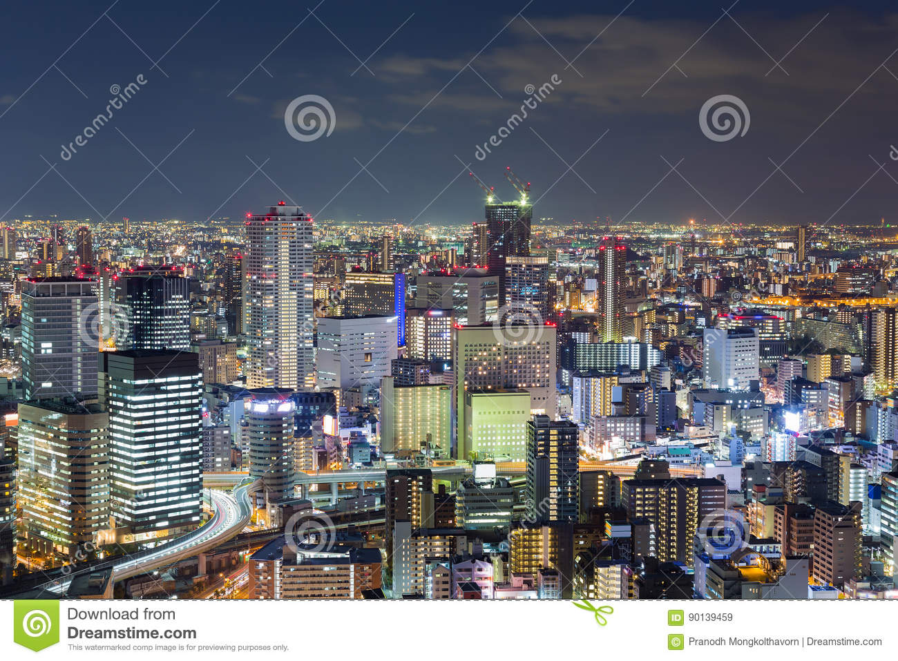Nights city office building, cityscape downtown background