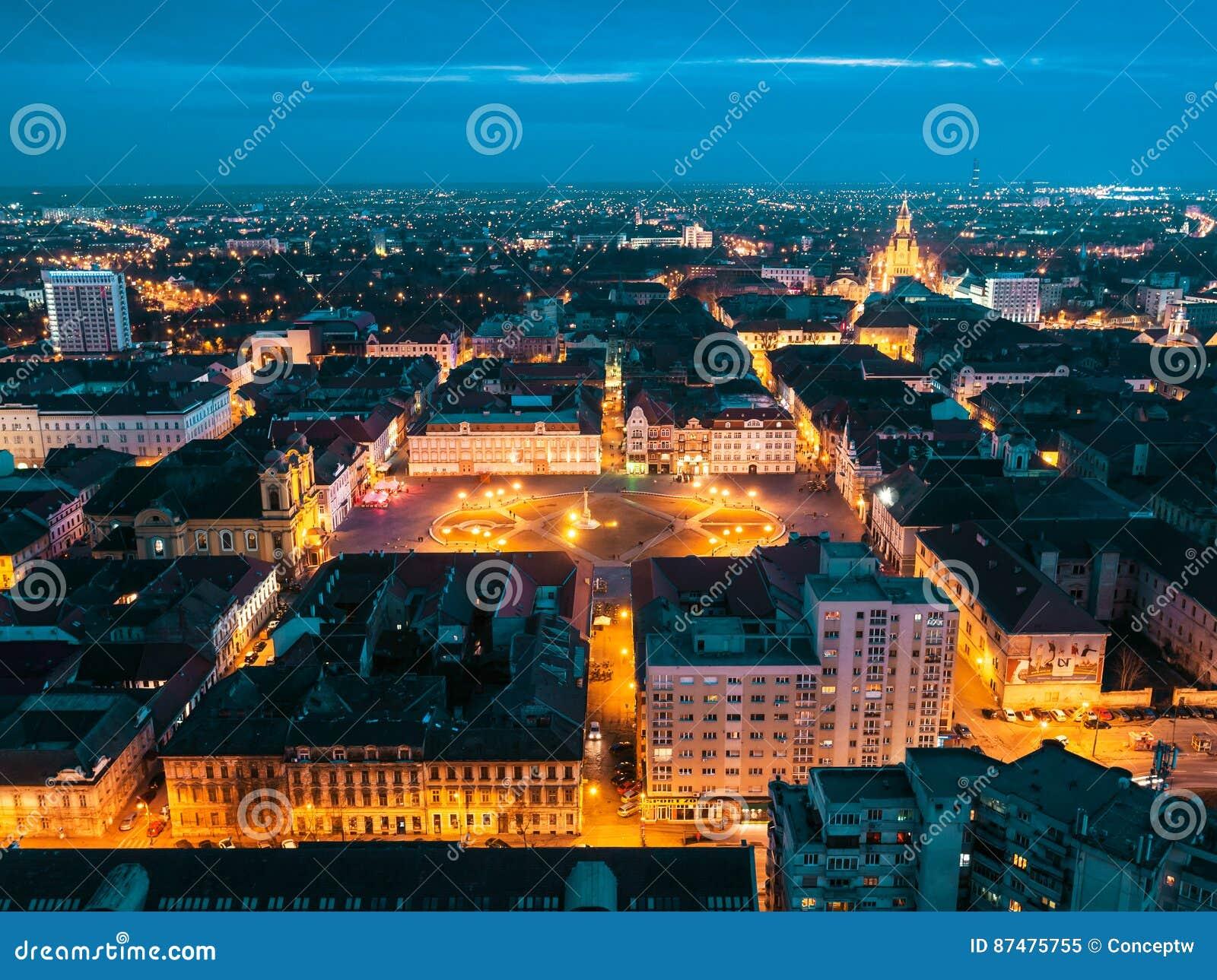Nightscape европейского города Timisoara