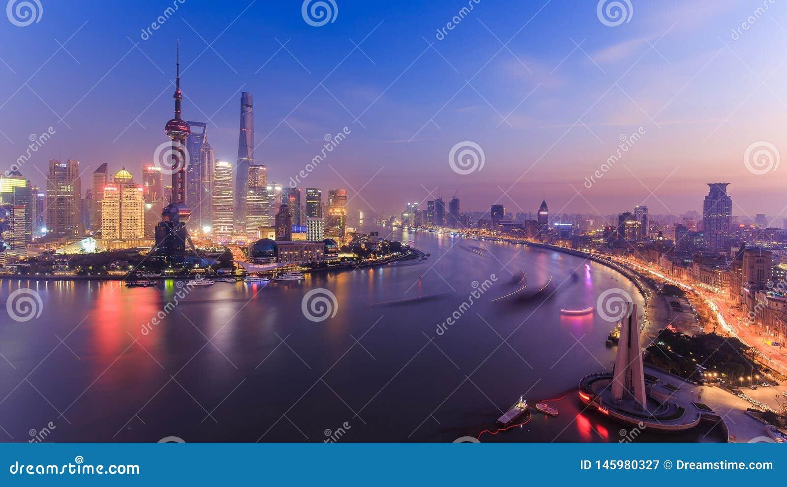 Nightscape di Shanghai, Cina