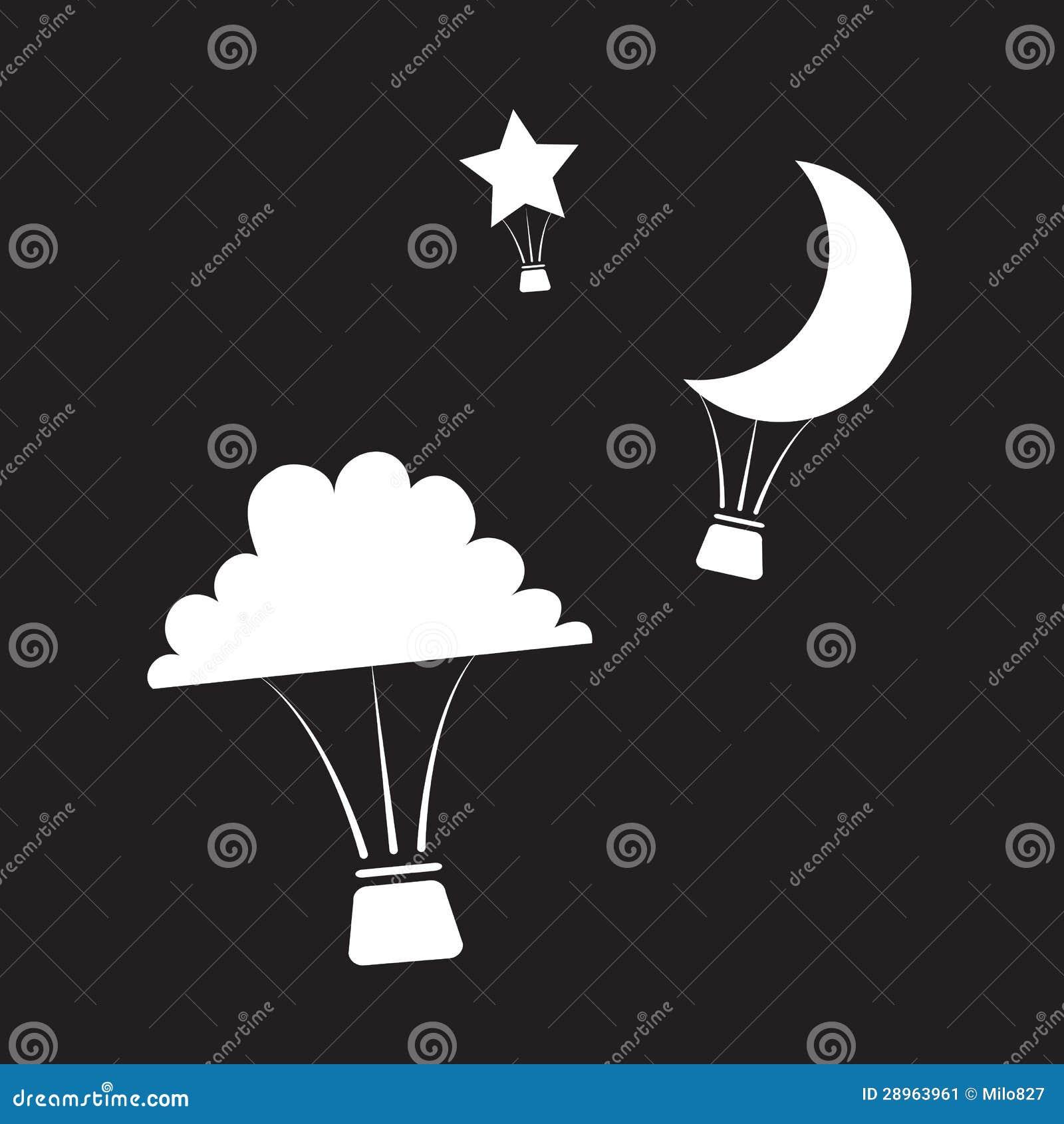 Nighttime gorącego powietrza balony