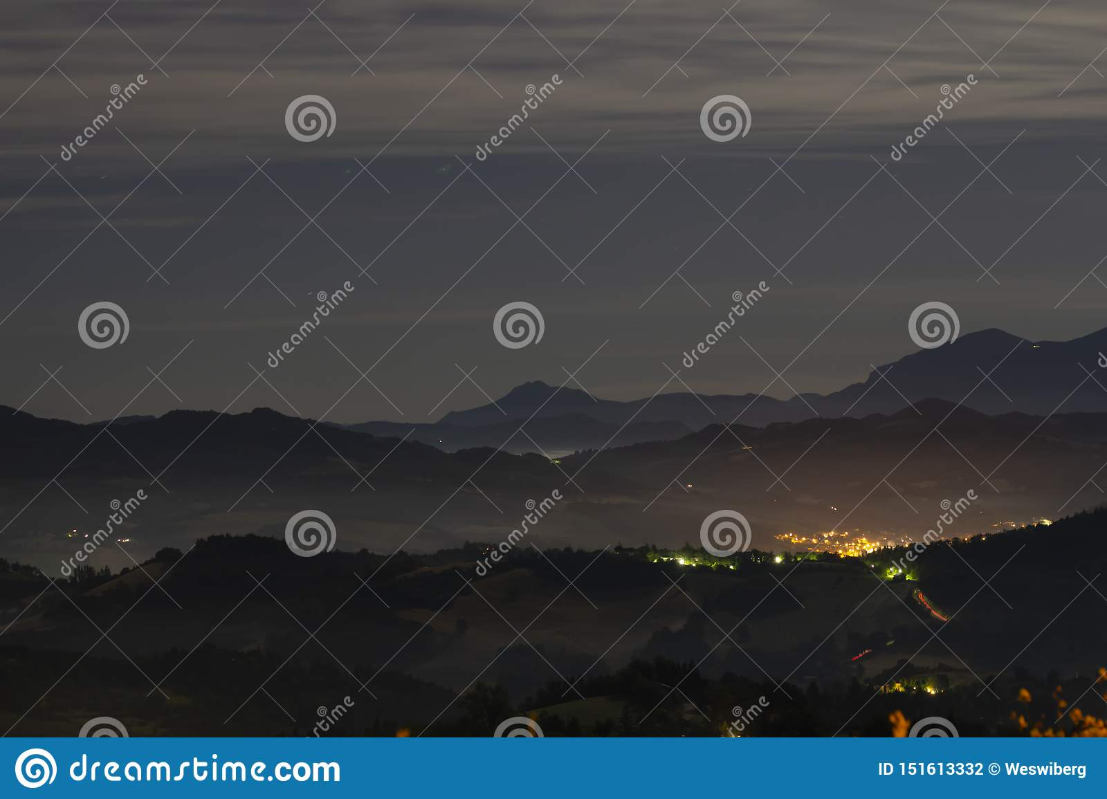 Nighttime hills outside Urbino Italy