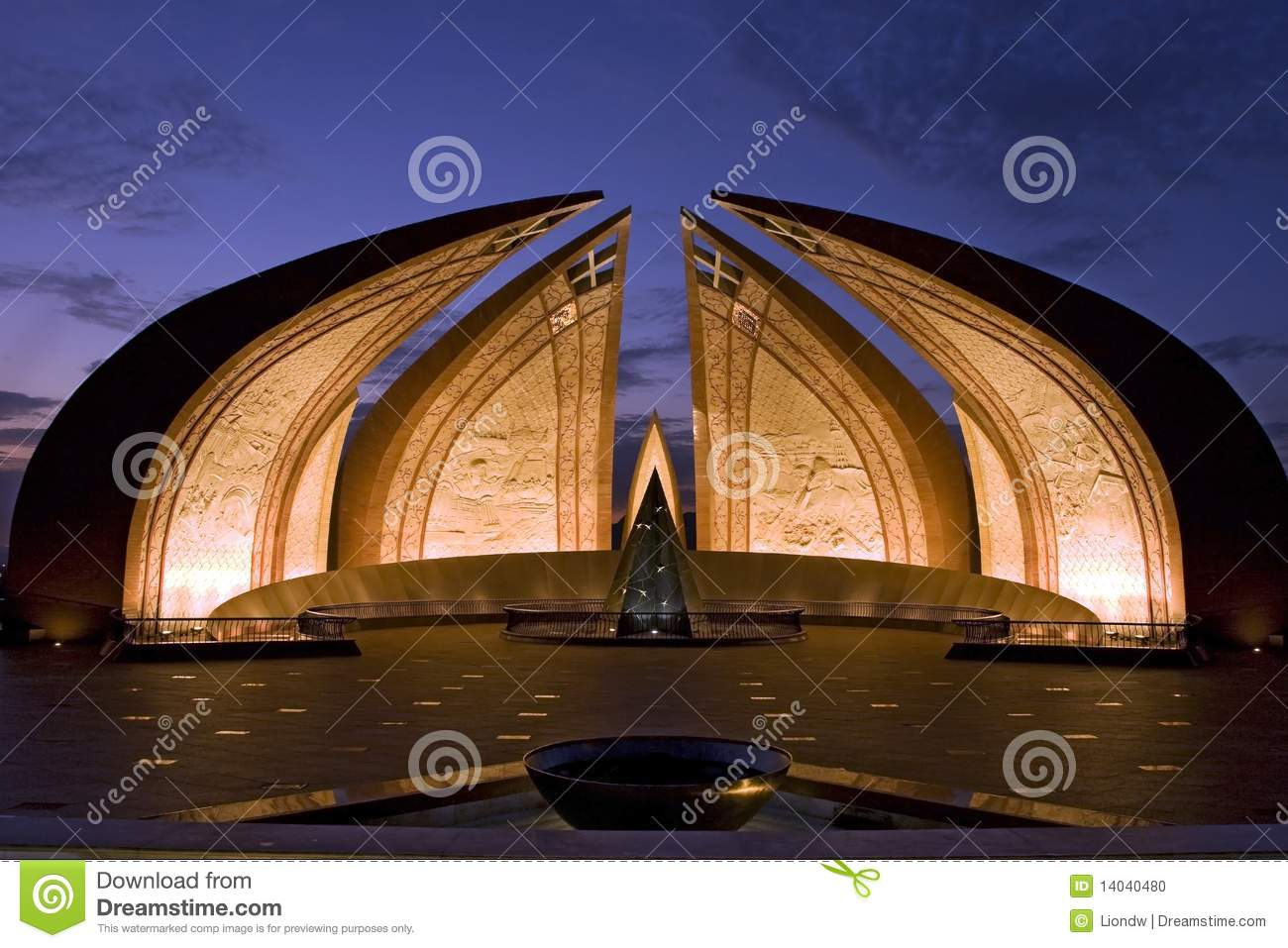 Nightview of Pakistan monument in Islamabad