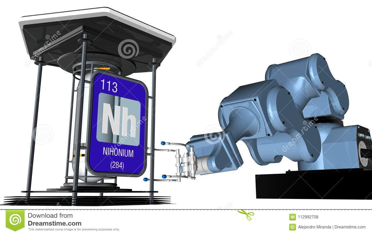 Nihonium symbol in square shape with metallic edge in front of a mechanical arm that will hold a chemical container. 3D render.