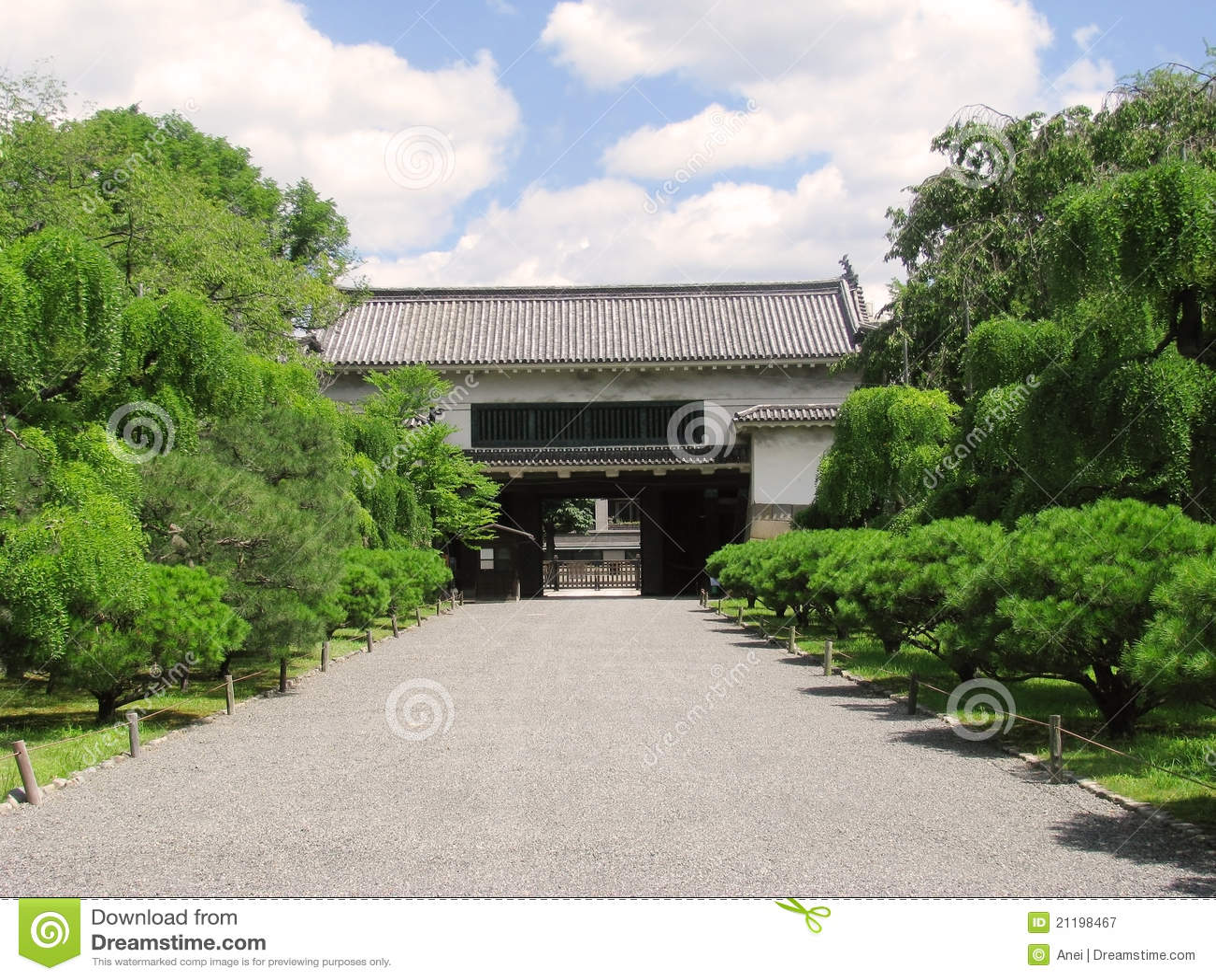 Nijo castle secondary gate and surrounding garden