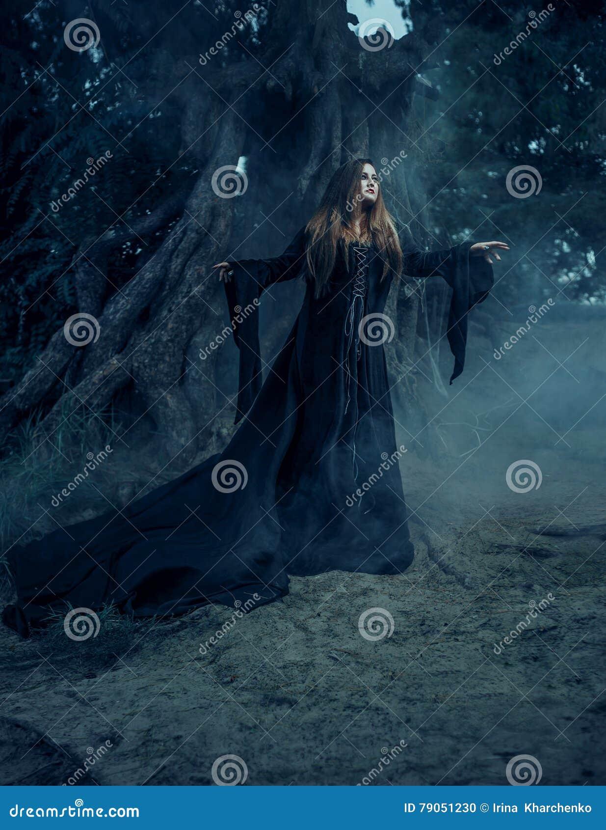 Nikczemna czarownica w długiej rocznik sukni, wędruje przez mgłowego fo
