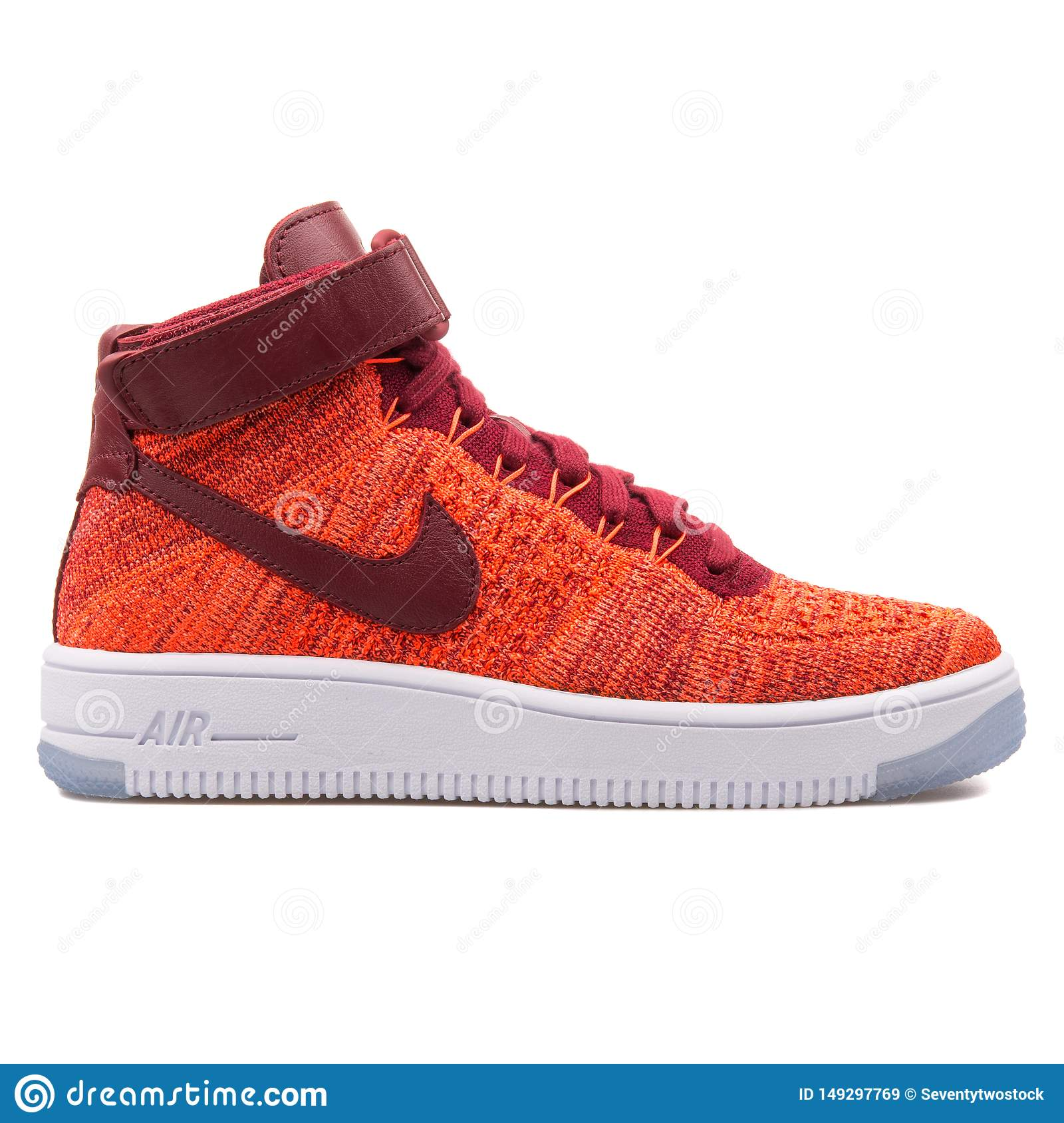 64cf5a76 Nike Air Force 1 Flyknit Red Sneaker Editorial Stock Image - Image ...