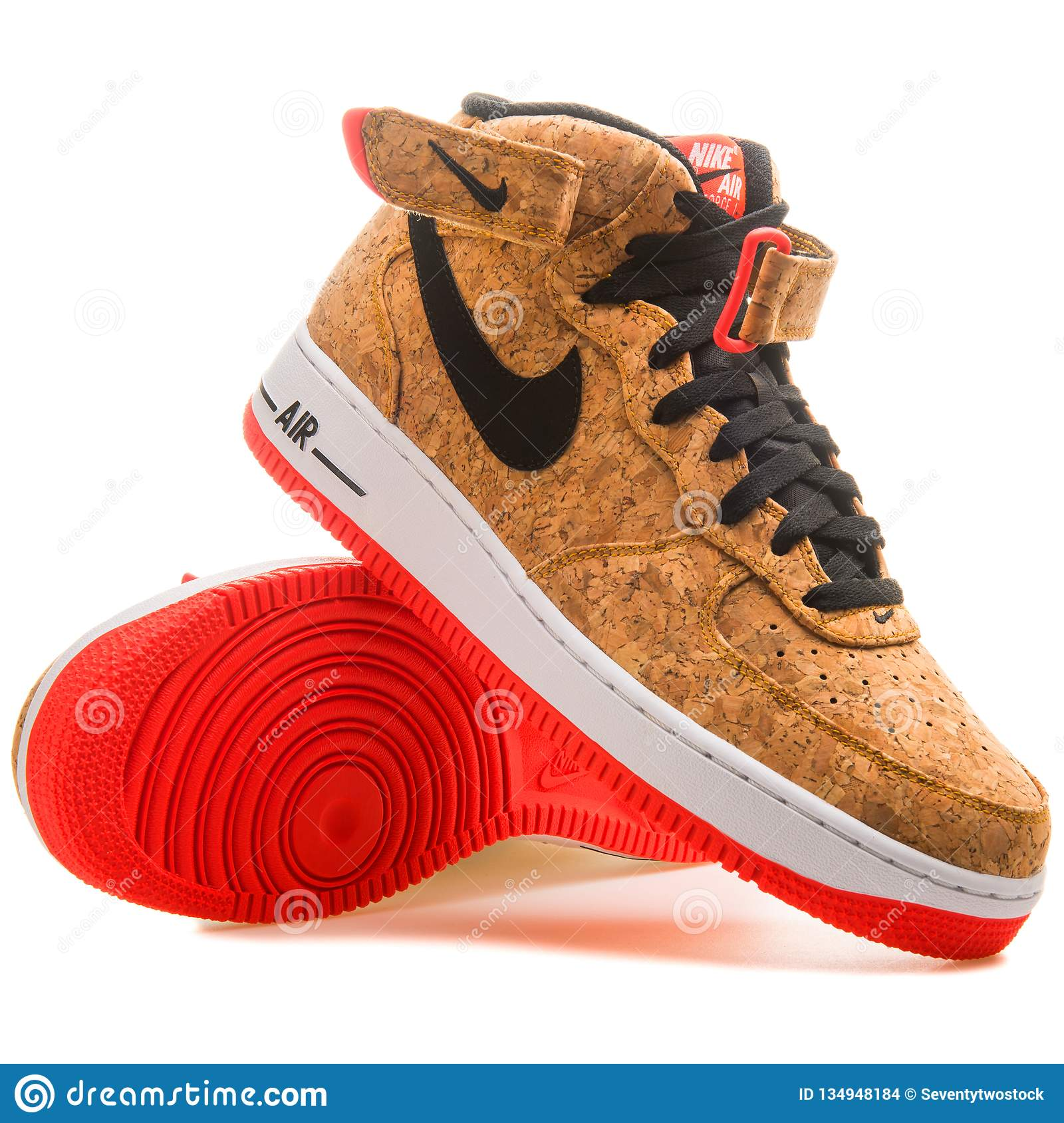 ba515624 Nike Air Force 1 Mid 07 Cork Sneaker Editorial Stock Image - Image ...