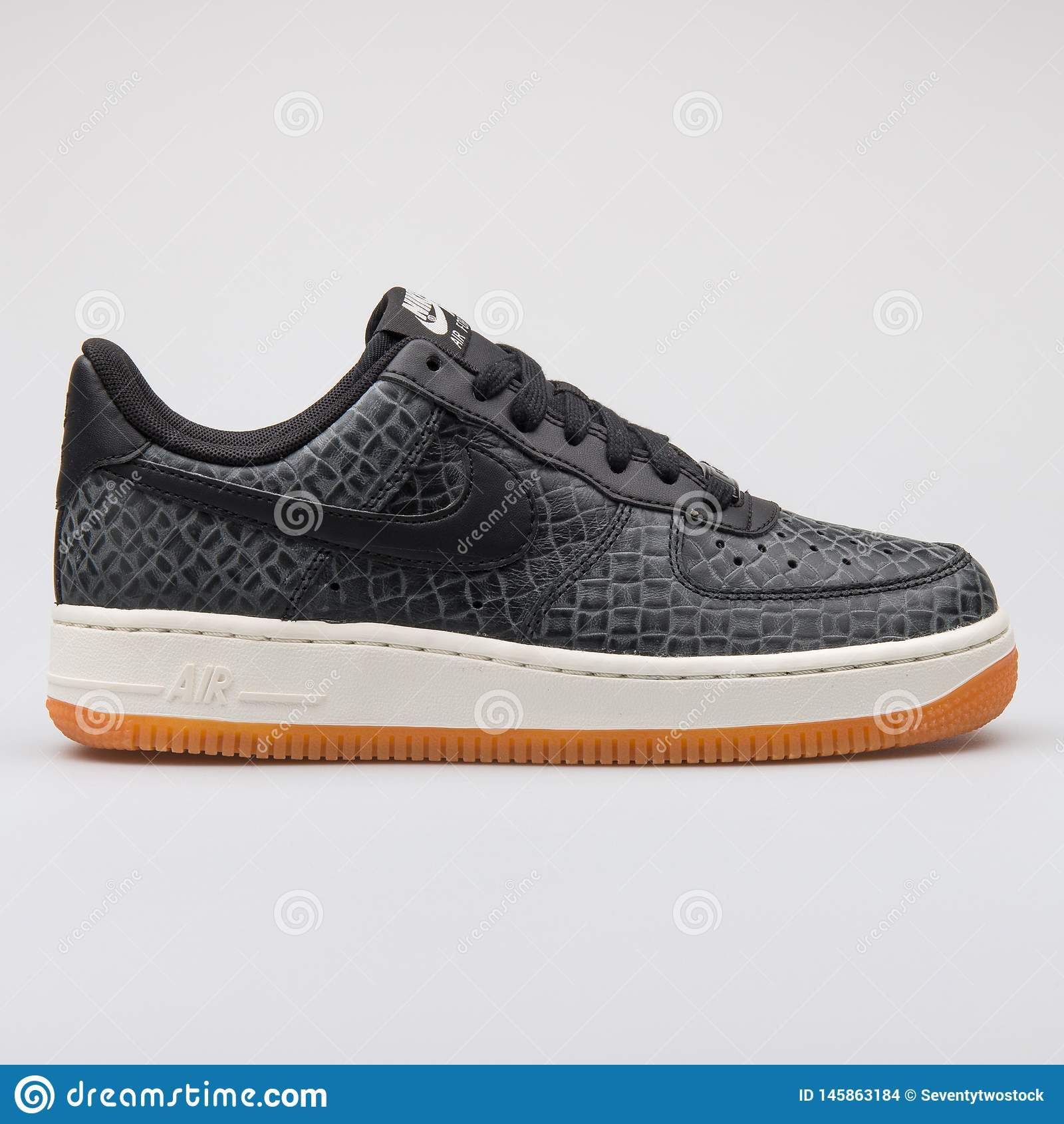 7bfcfa3f Nike Air Force 1 07 Premium Black Sneaker Editorial Stock Image ...