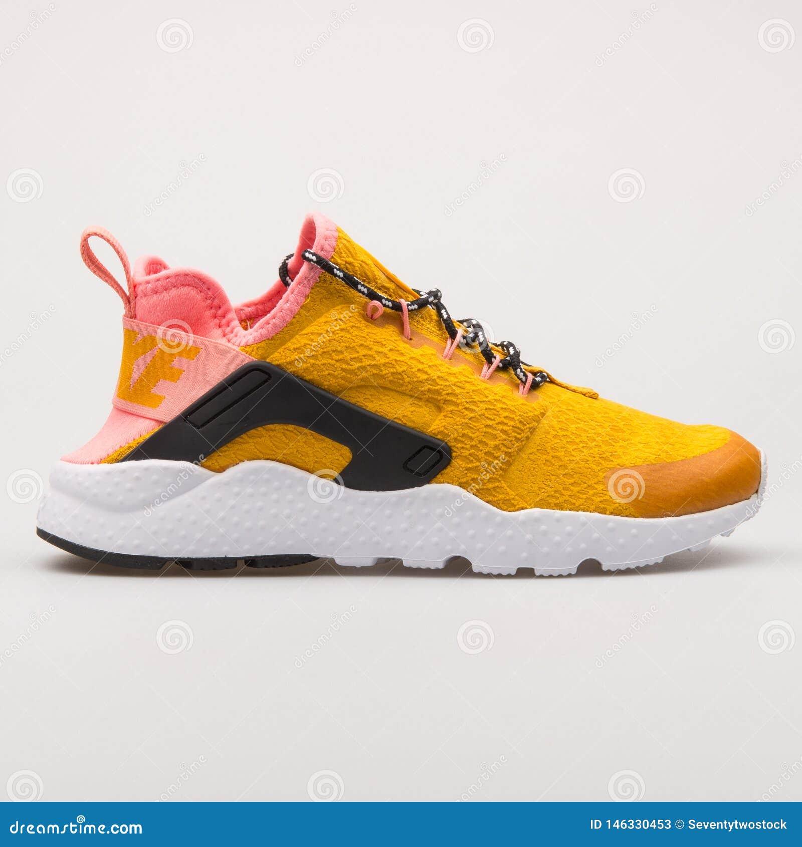 Nike Air Huarache Run Ultra SE Gold And Pink Sneaker Editorial ...