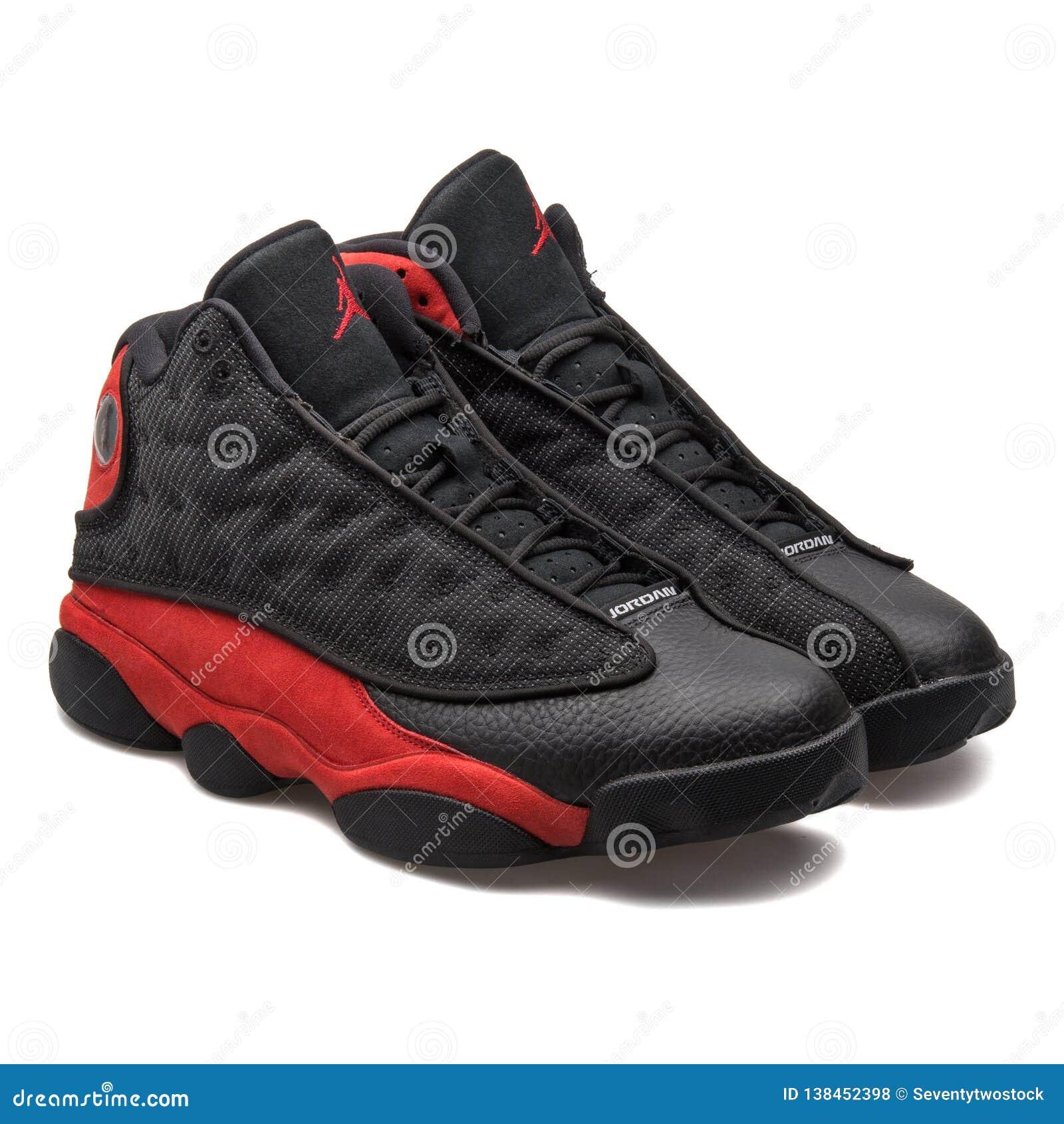 Nike Air Jordan 13 Retro Black And Red Sneakers Editorial