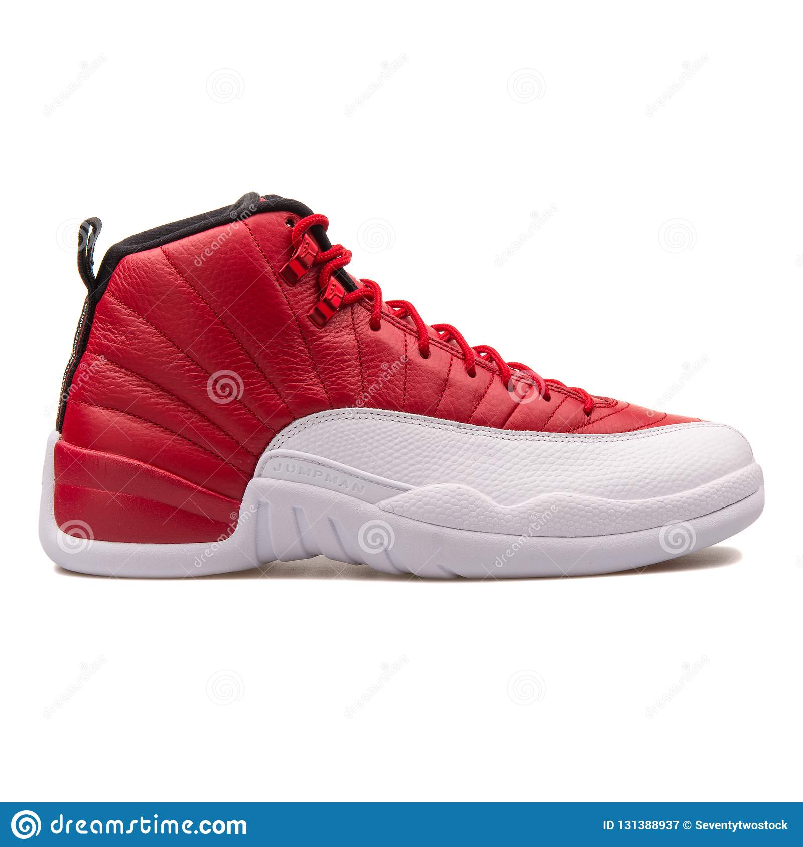 8e9976d976b Nike Air Jordan 12 Retro gym red-black and white sneaker isolated on white  background