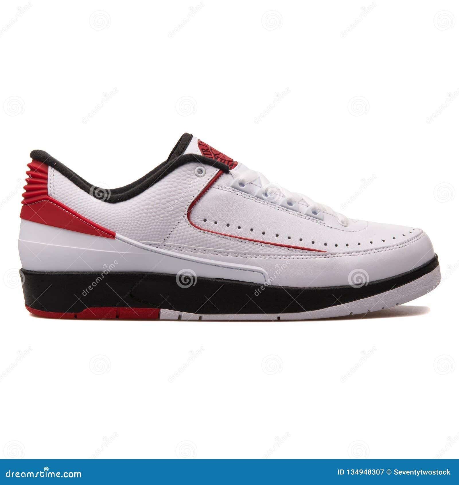 more photos d51df 0d300 Nike Air Jordan 2 Retro Low White, Black And Red Sneaker ...