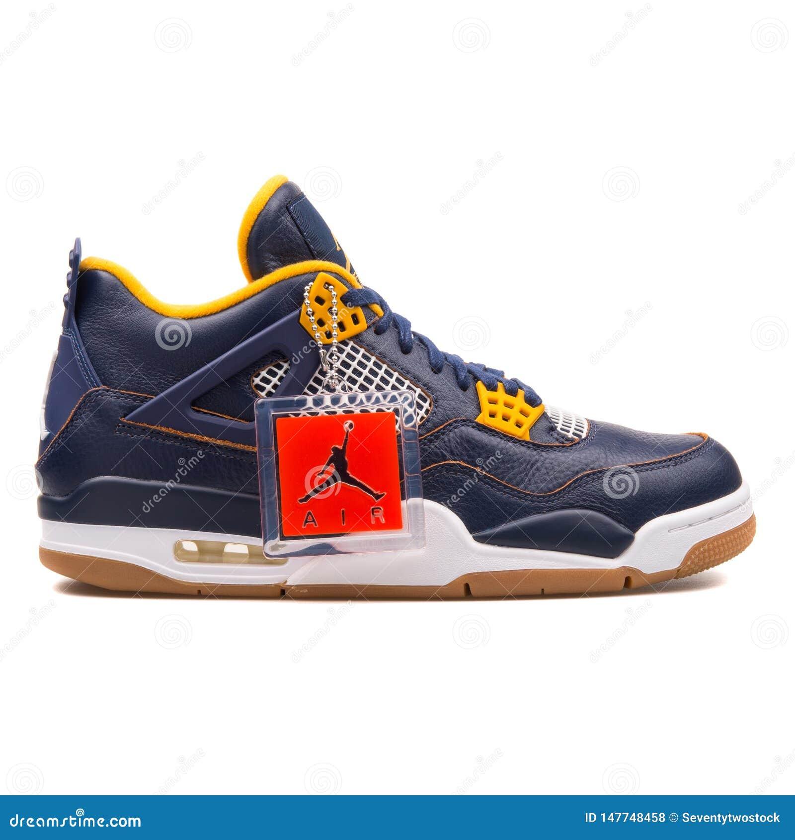 size 40 3b018 12667 Nike Air Jordan 4 Retro Navy Blue And Gold Sneaker Editorial ...