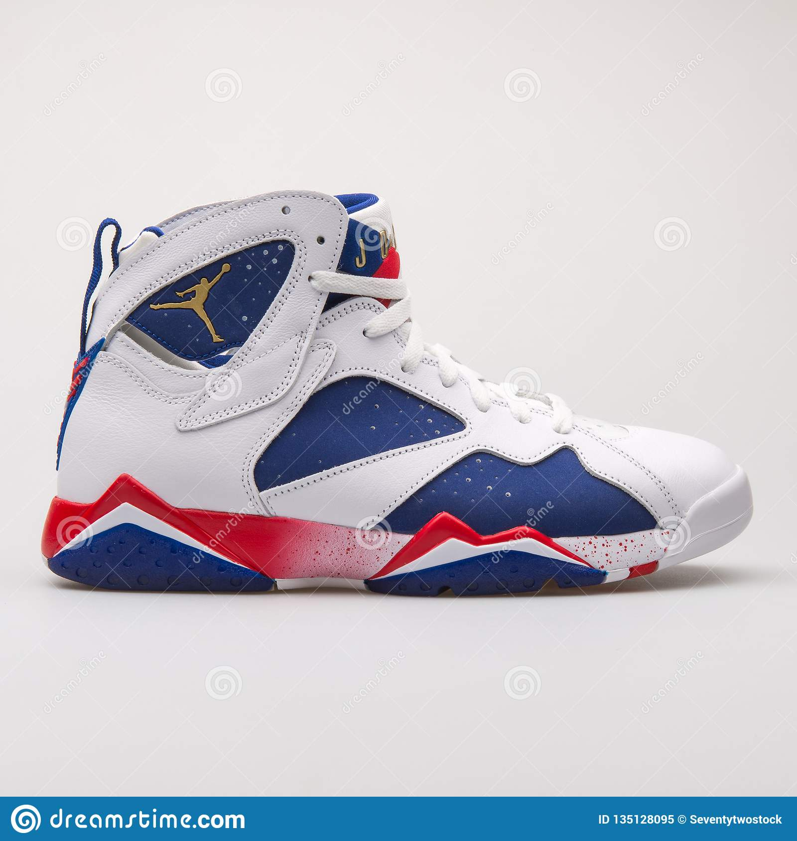 online retailer e08f1 88e07 Nike Air Jordan 7 Retro White, Blue And Red Sneaker ...