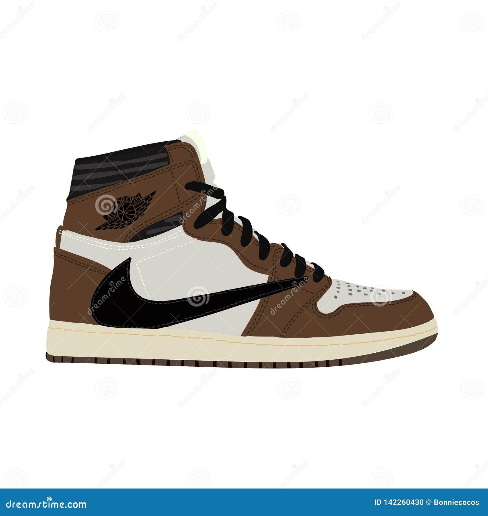 cheaper 82356 2ed6a Nike Air Jordan. Sneaker. Trainer. Flat design. Vector illustration. Jordan  1 Retro High Travis Scott