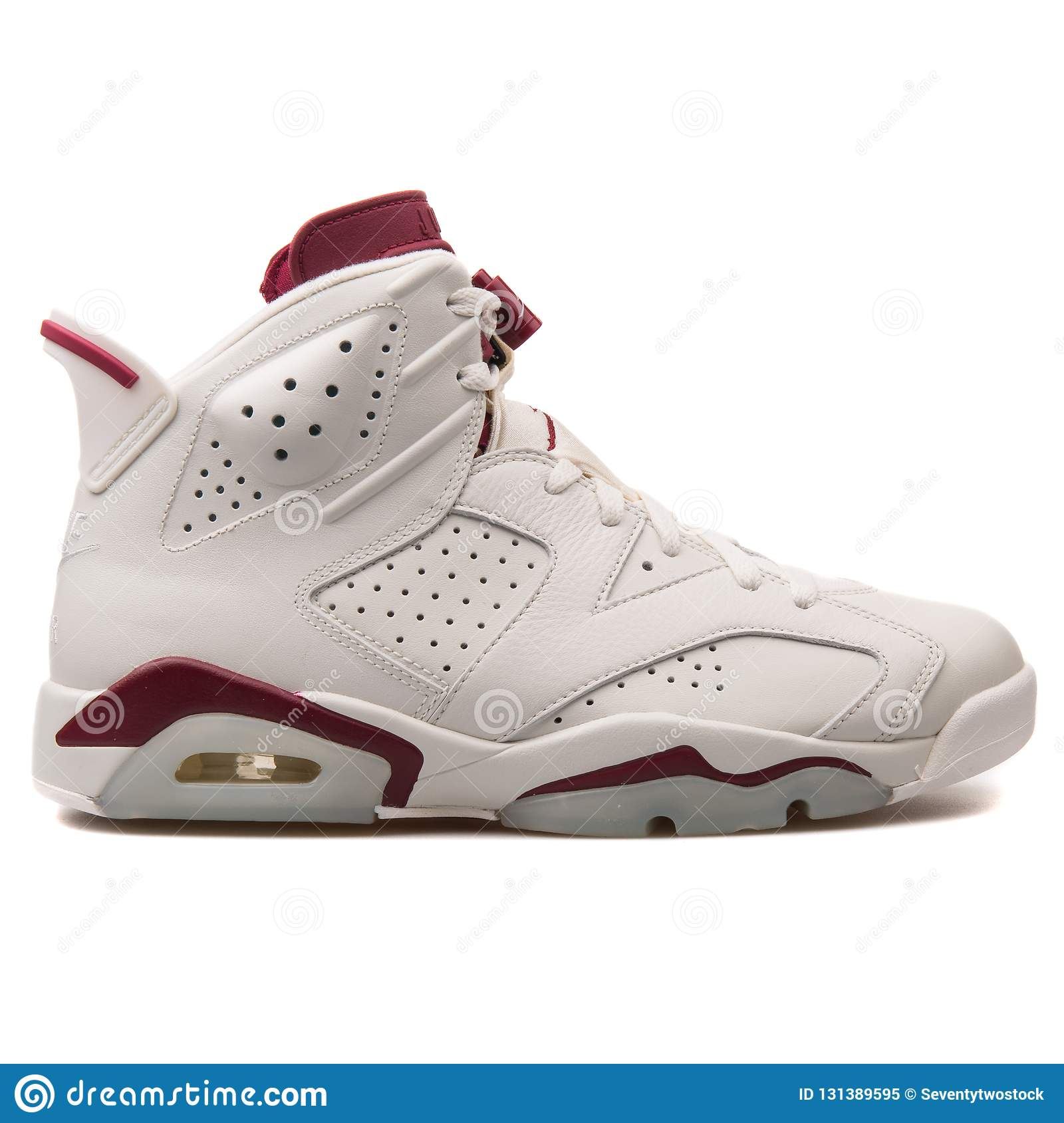 Nike Air Jordan 6 White And Red Sneaker Isolated On White Background ... d0c902529