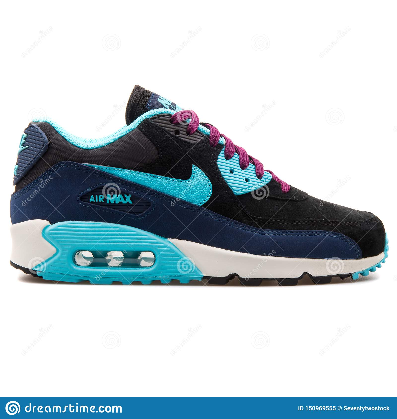 Nike Air Max 90 Leather Black, Blue And Navy Blue Sneaker