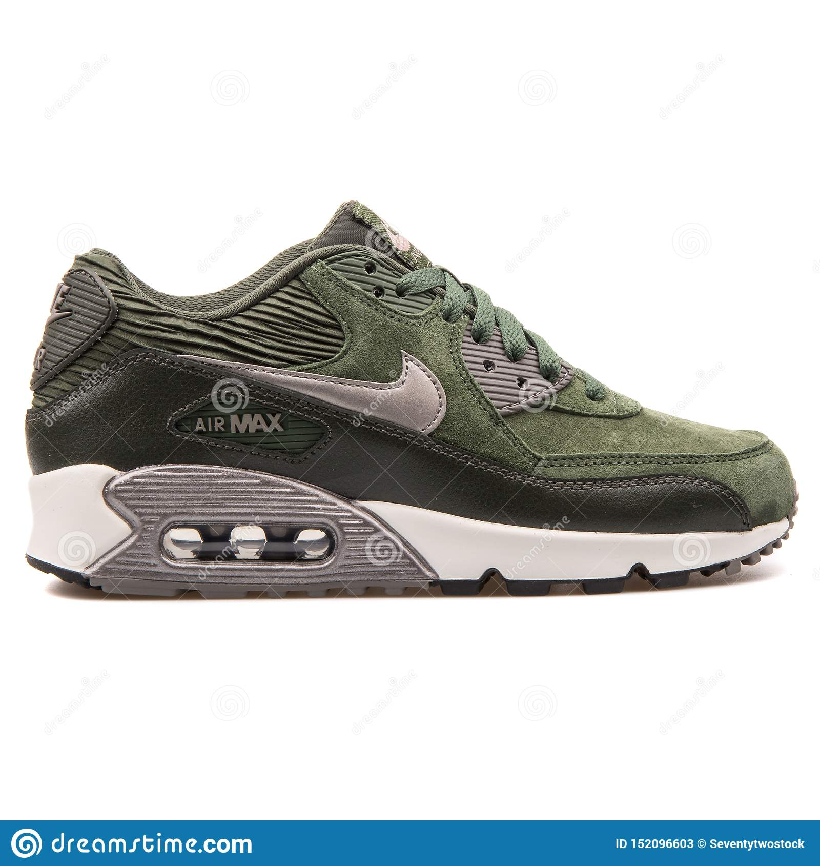 Nike Air Max 90 Leather Green, Black and Metallic Silver Sneaker ...