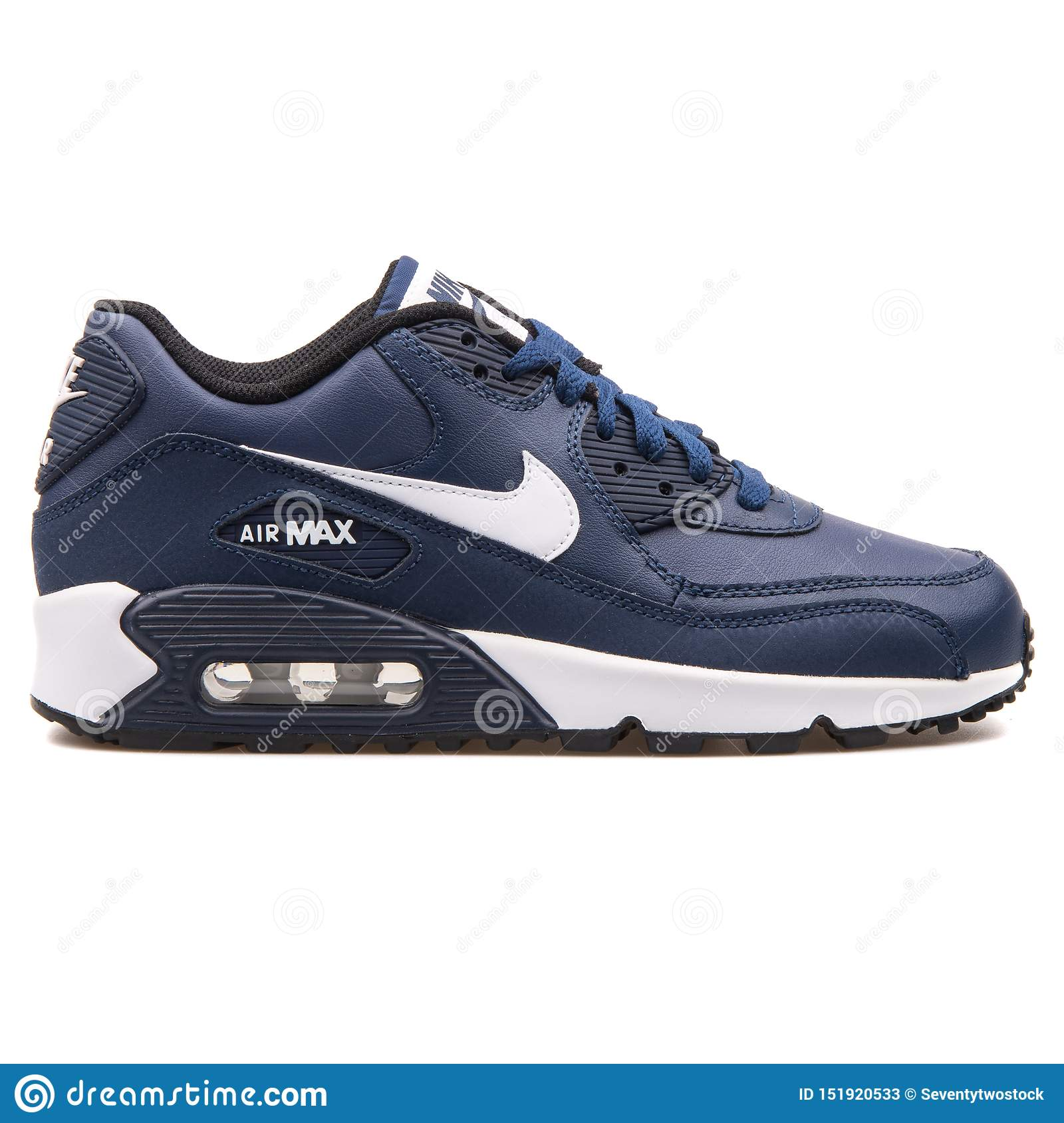 navy blue and white nike air max 90