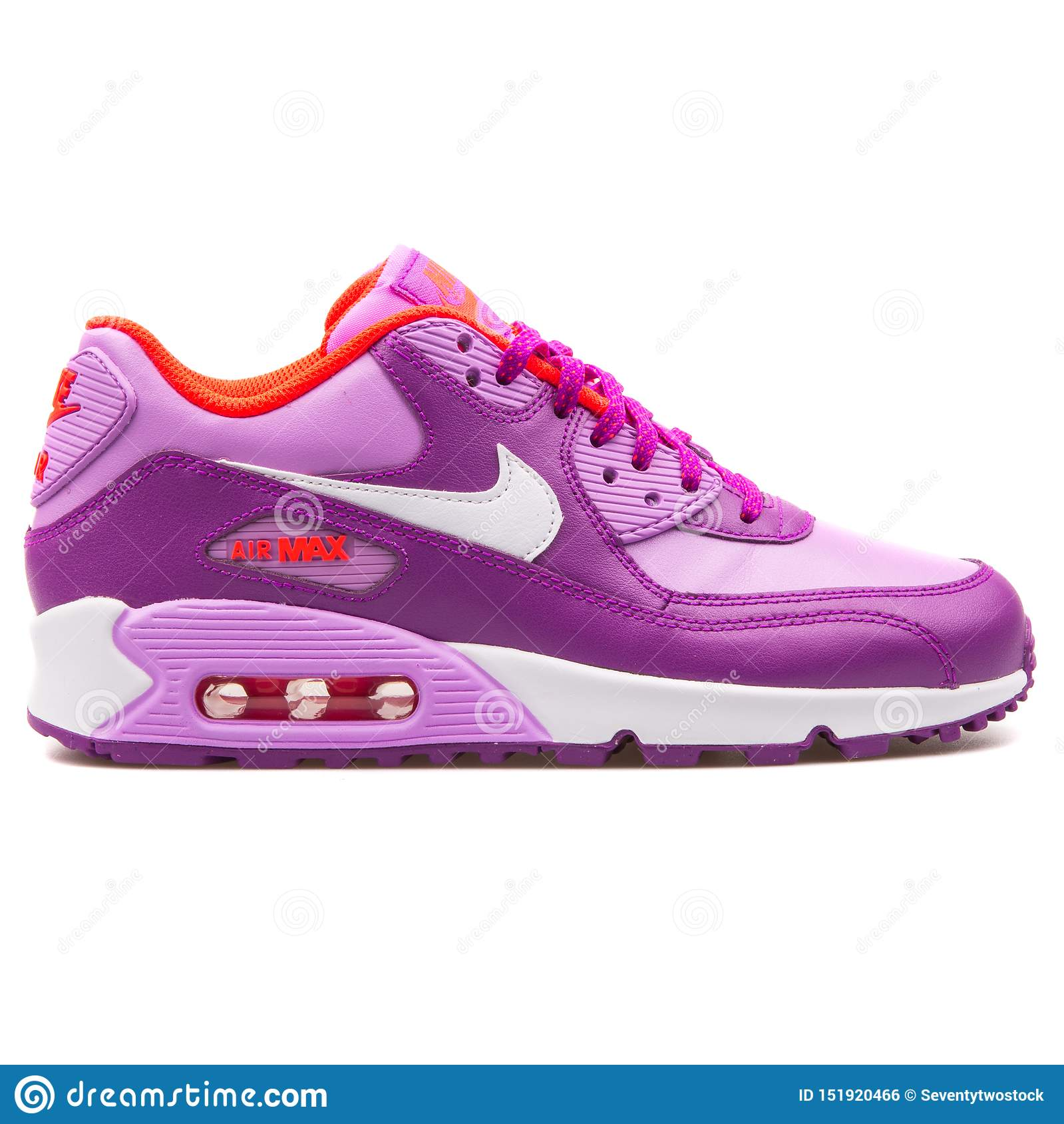 Nike Air Max 90 Leather Purple Sneaker Editorial Photo