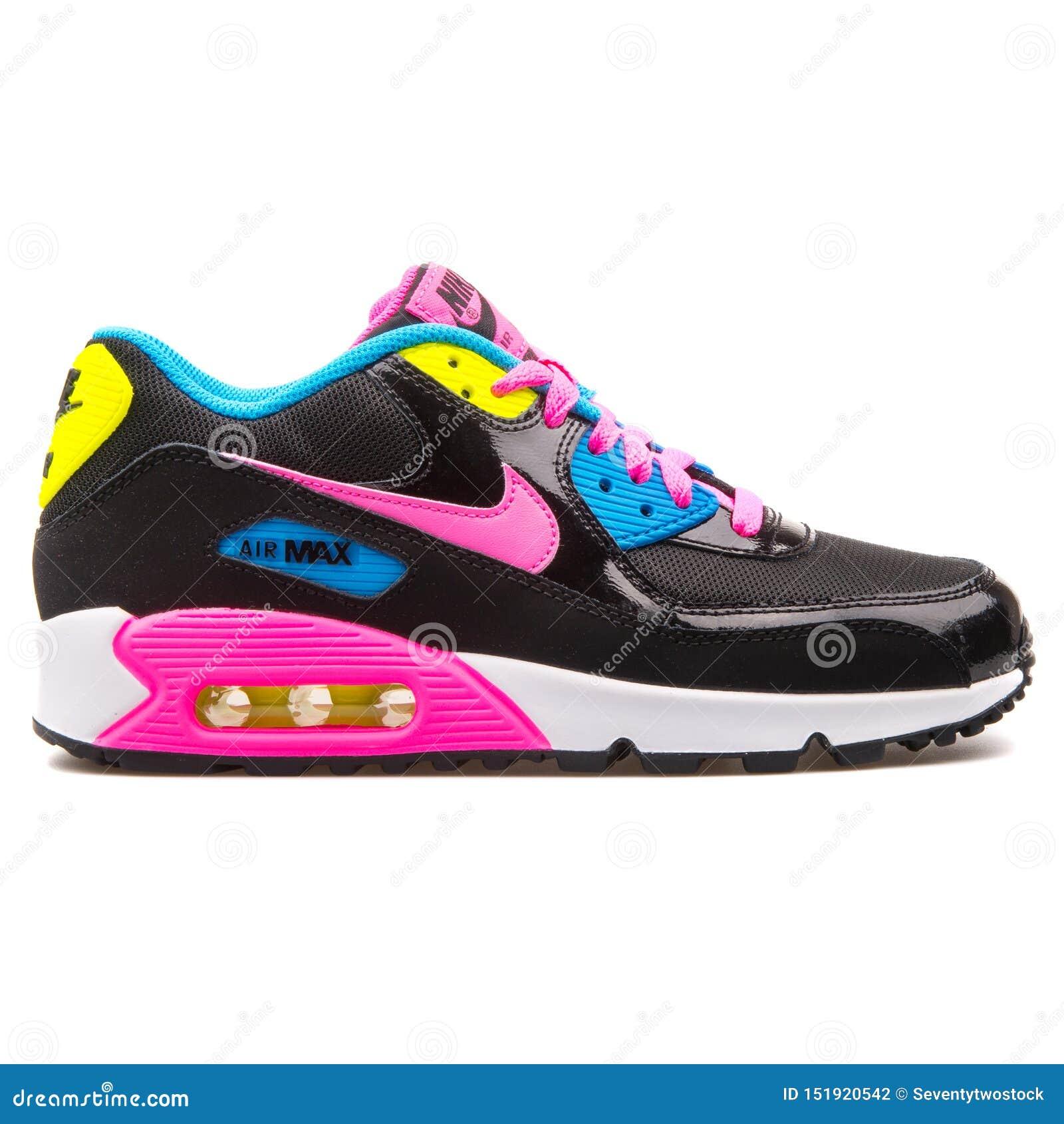 Nike Air Max 90 Mesh Black, Pink, Blue And Yellow Sneaker