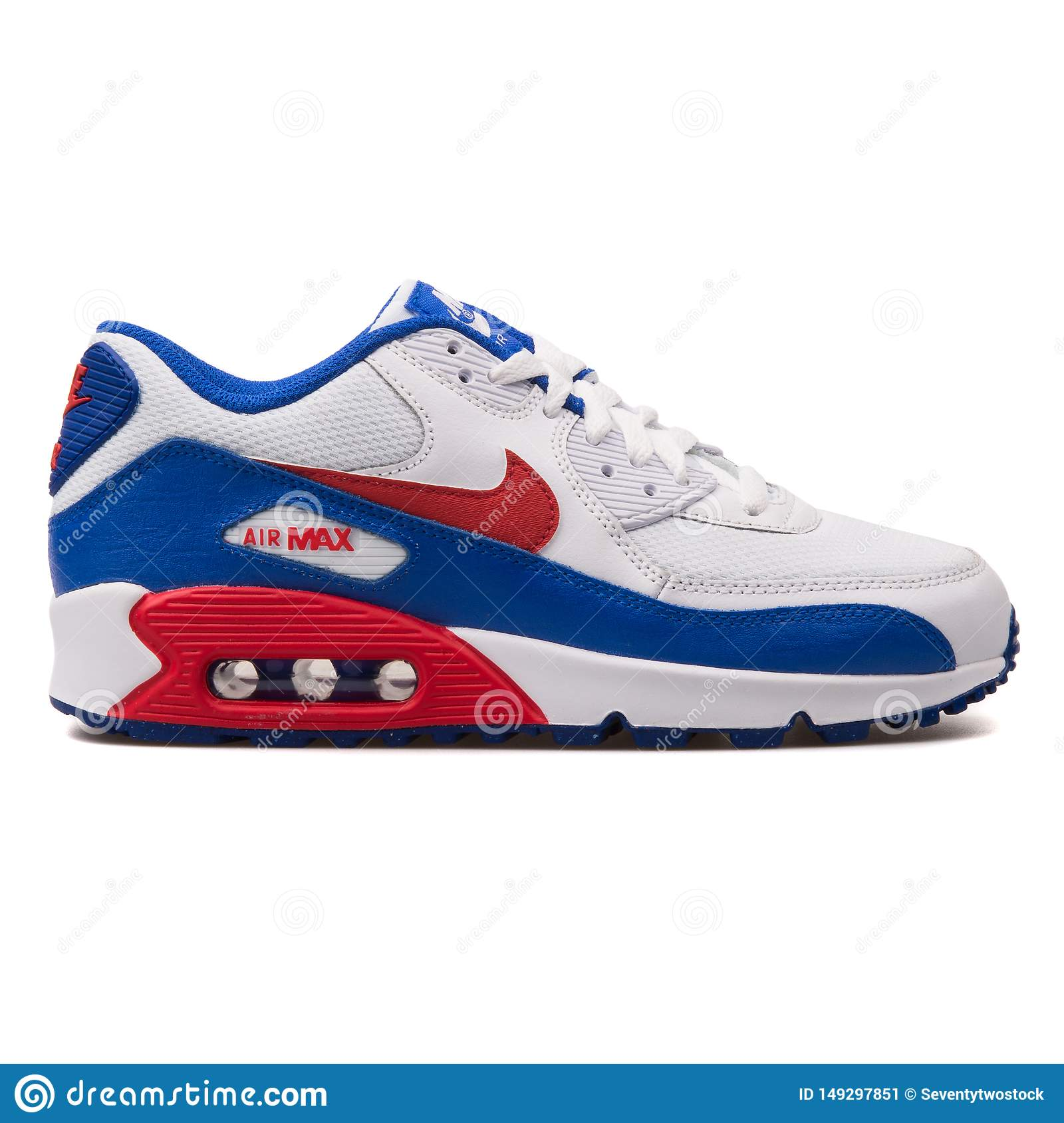 especificación Fontanero Cuando  Nike Air Max 90 Mesh White, Bue And Red Sneaker Editorial Photo - Image of  blue, sneakers: 149297851