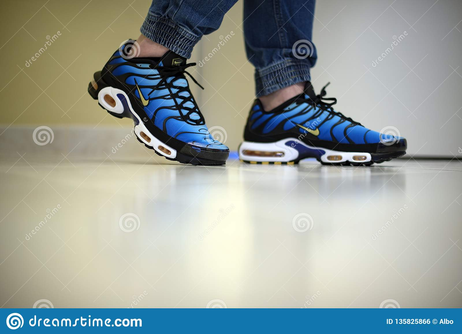 fc733dfb Milan, Italy - December 1, 2018: Young man wearing Nike Air Max Plus TN  Hyperblue shoes in the street - illustrative editorial