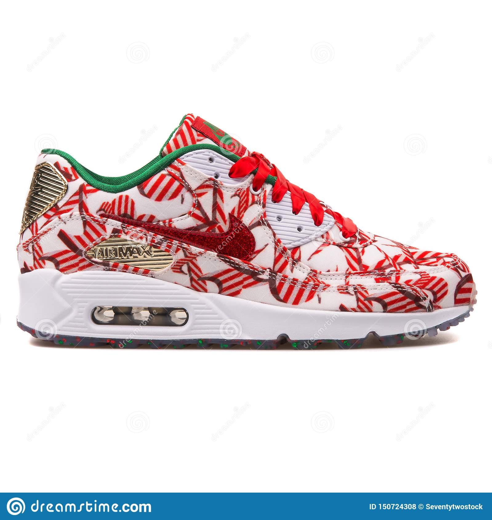 d58c847f Nike Air Max 90 QS White, Red And Gold Sneaker Editorial Stock Photo ...