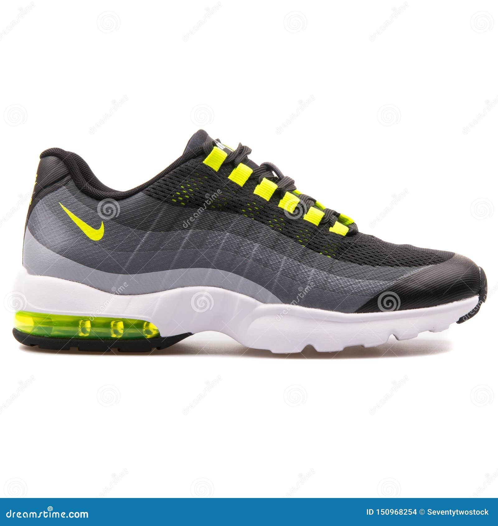 new product 4a35a 5a2de Nike Air Max 95 Ultra Black, Grey And Volt Yellow Sneaker ...