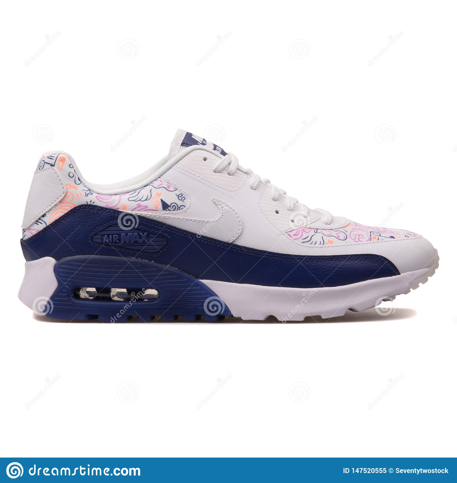 Nike Air Max 90 Ultra Print White And Blue Sneaker Editorial