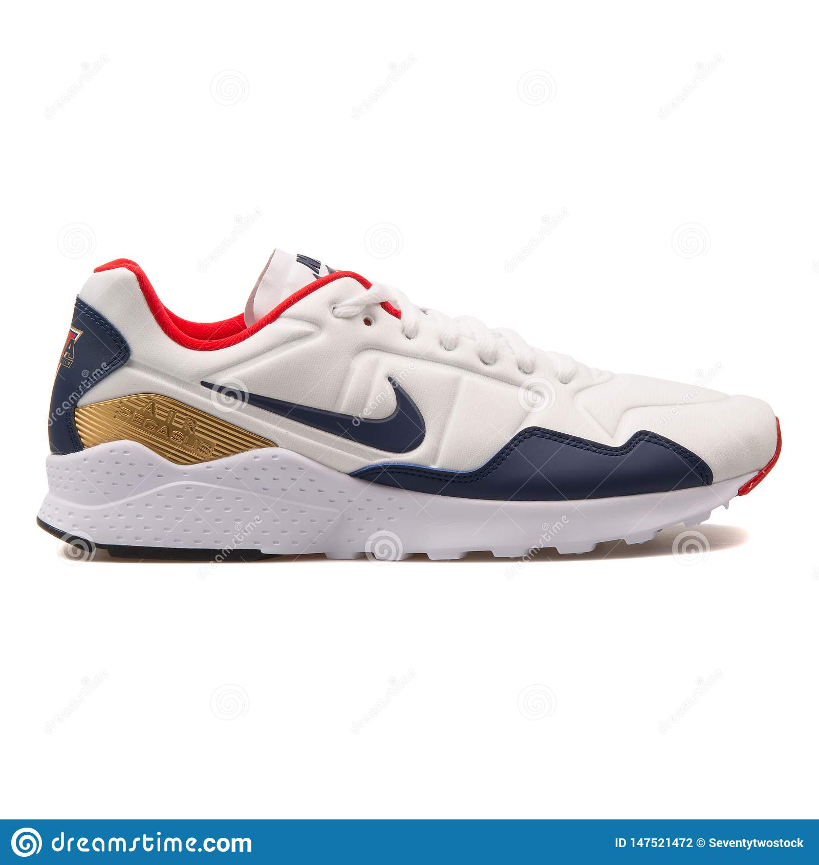 Procesando barajar Para construir  Nike Air Zoom Pegasus 92 White, Blue, Gold And Red Sneaker Editorial  Photography - Image of product, fitness: 147521472