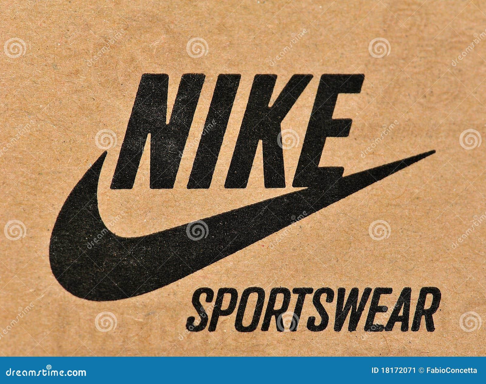 Nike brand and logo on cardboard