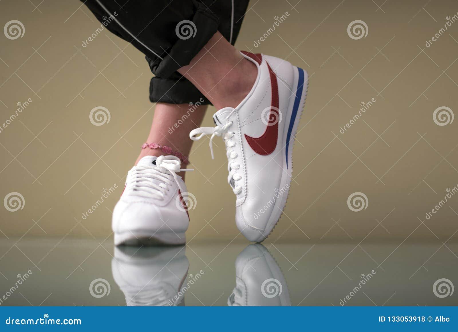 Nike Cortez indoor editorial stock