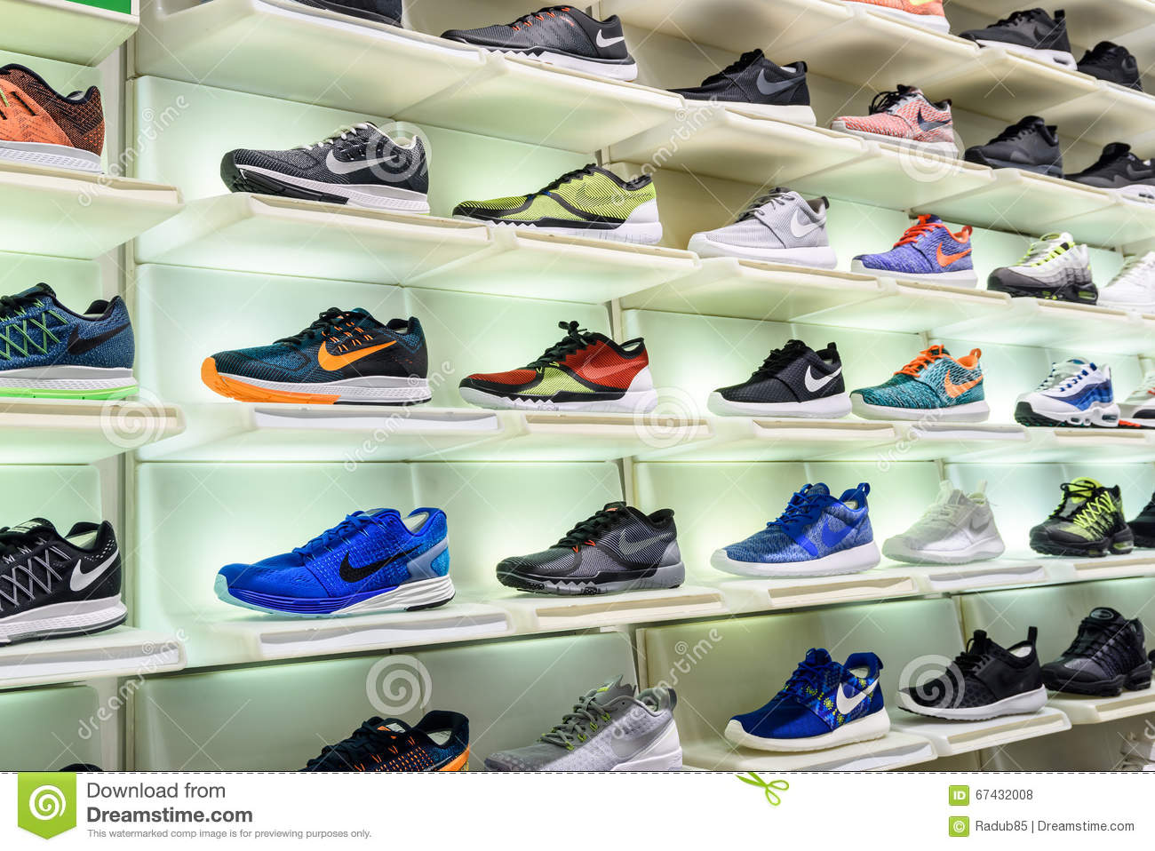 Nike Running Shoes For Sale In Nike Shoe Store Display Editorial ...