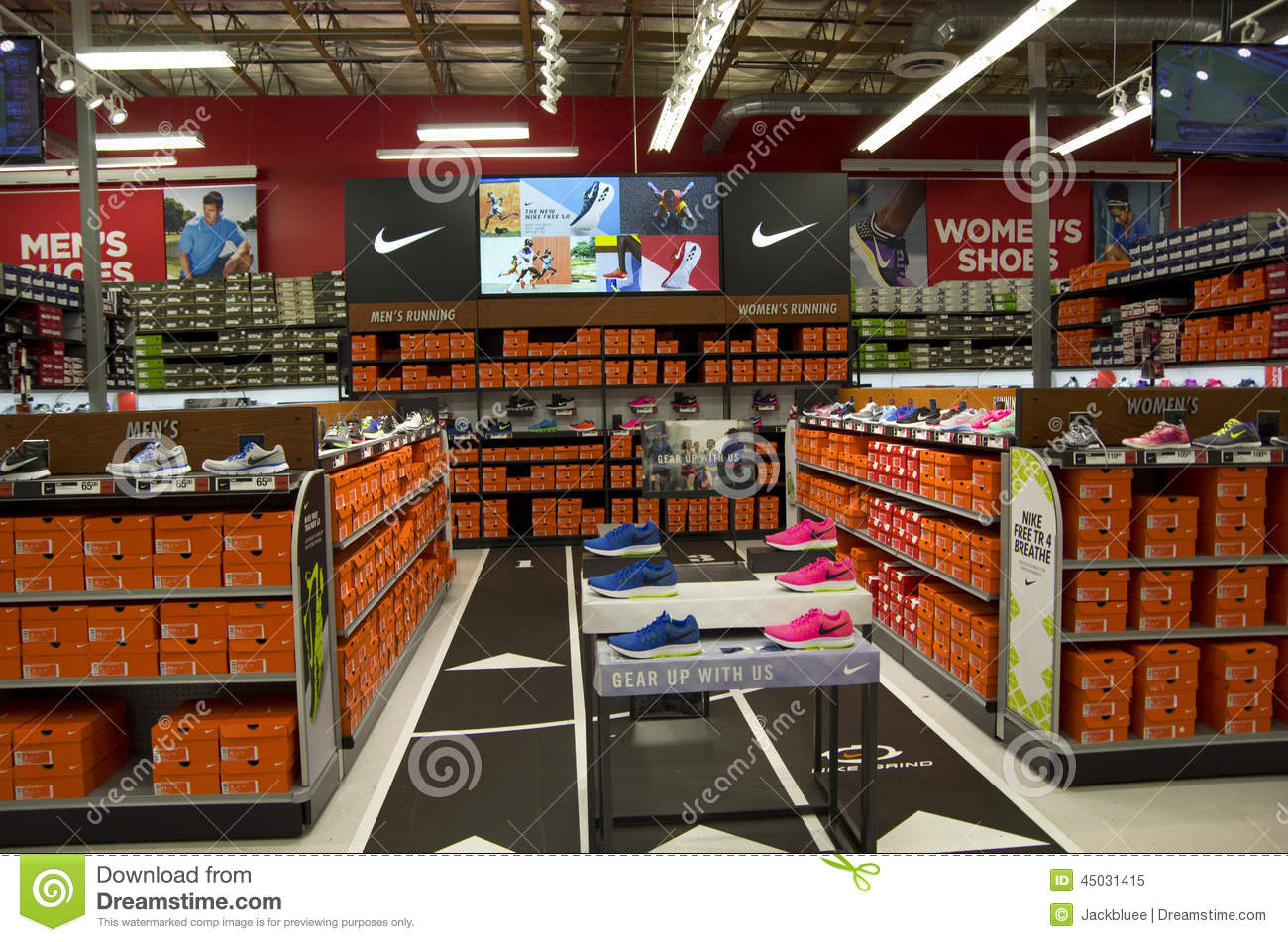 fdbaffaa6c0d Nike Shoes In Sports Authority Editorial Image - Image of section ...